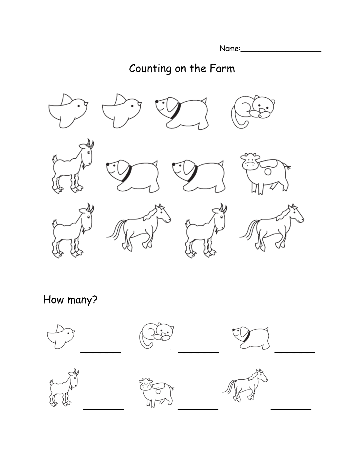Farm Animal Counting Worksheets