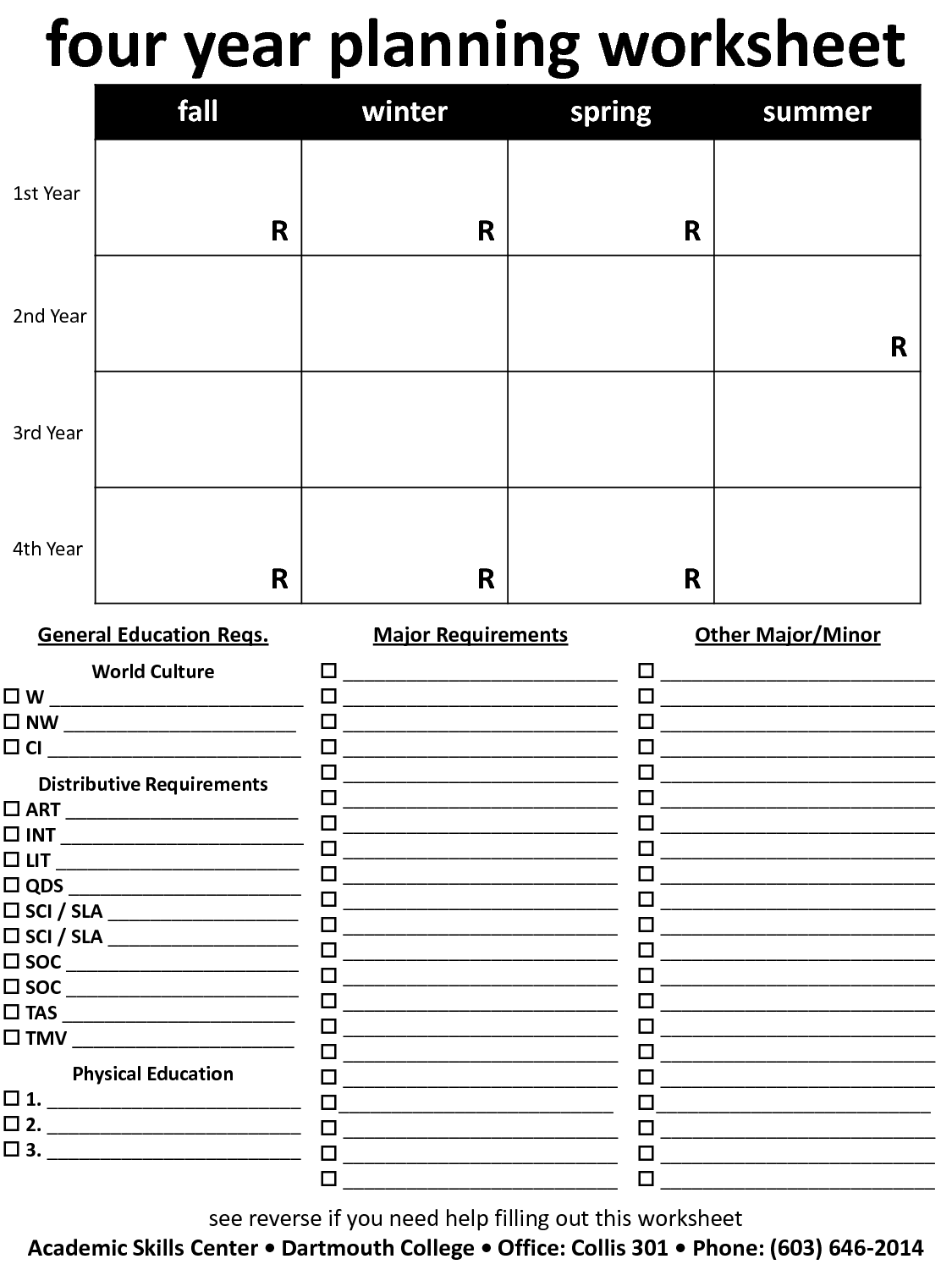 Academic Planning Worksheet