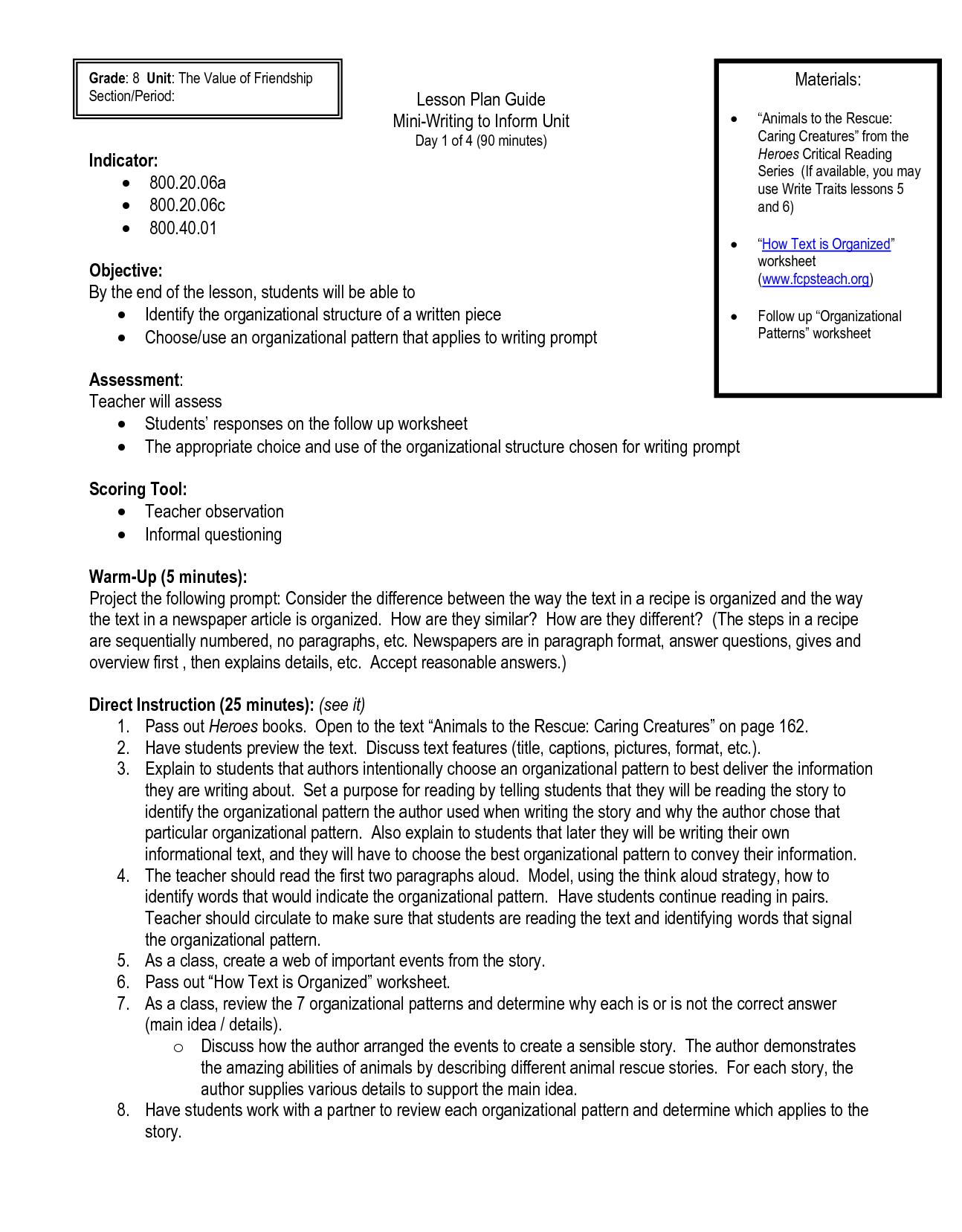 Descriptive Worksheet