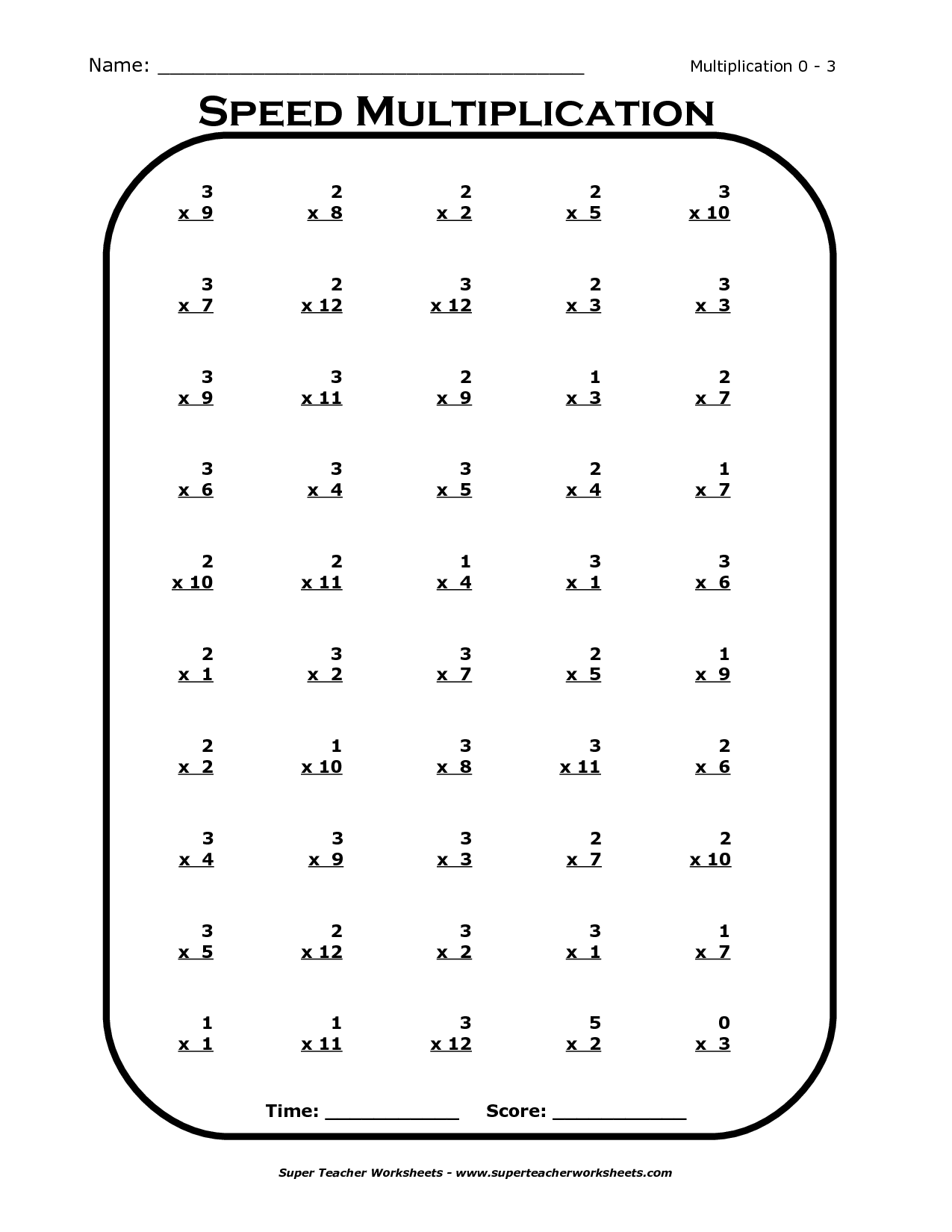 20 Times Table Worksheet
