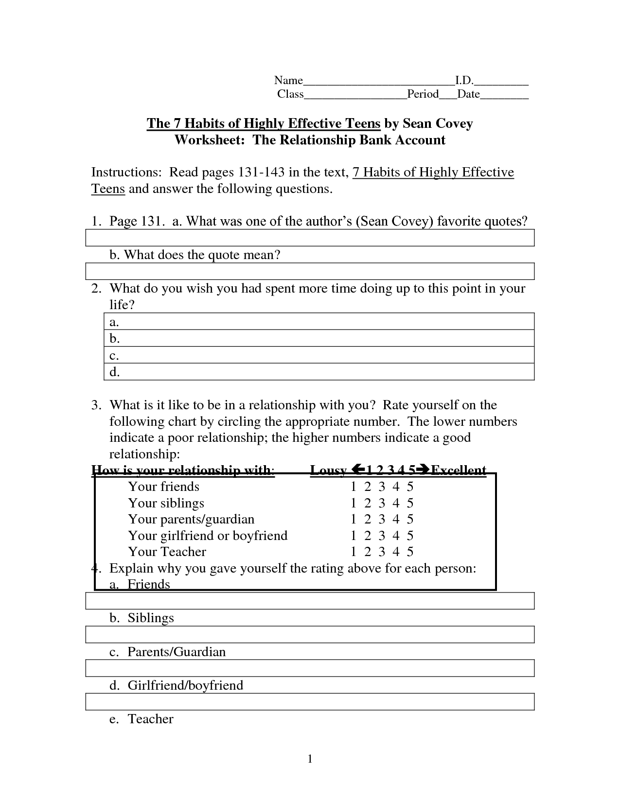 Healthy Eating Worksheet Teens