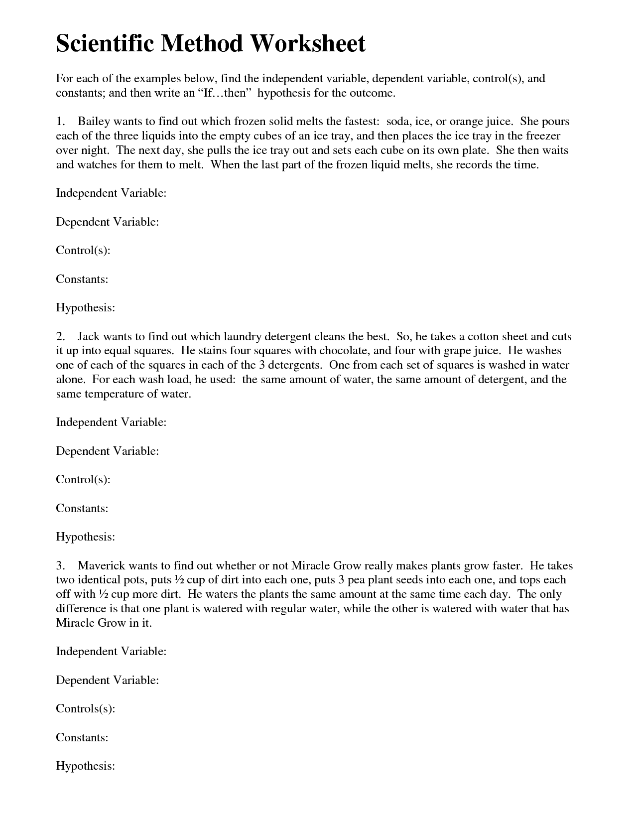29 Experimental Design Worksheet Scientific Method Answer