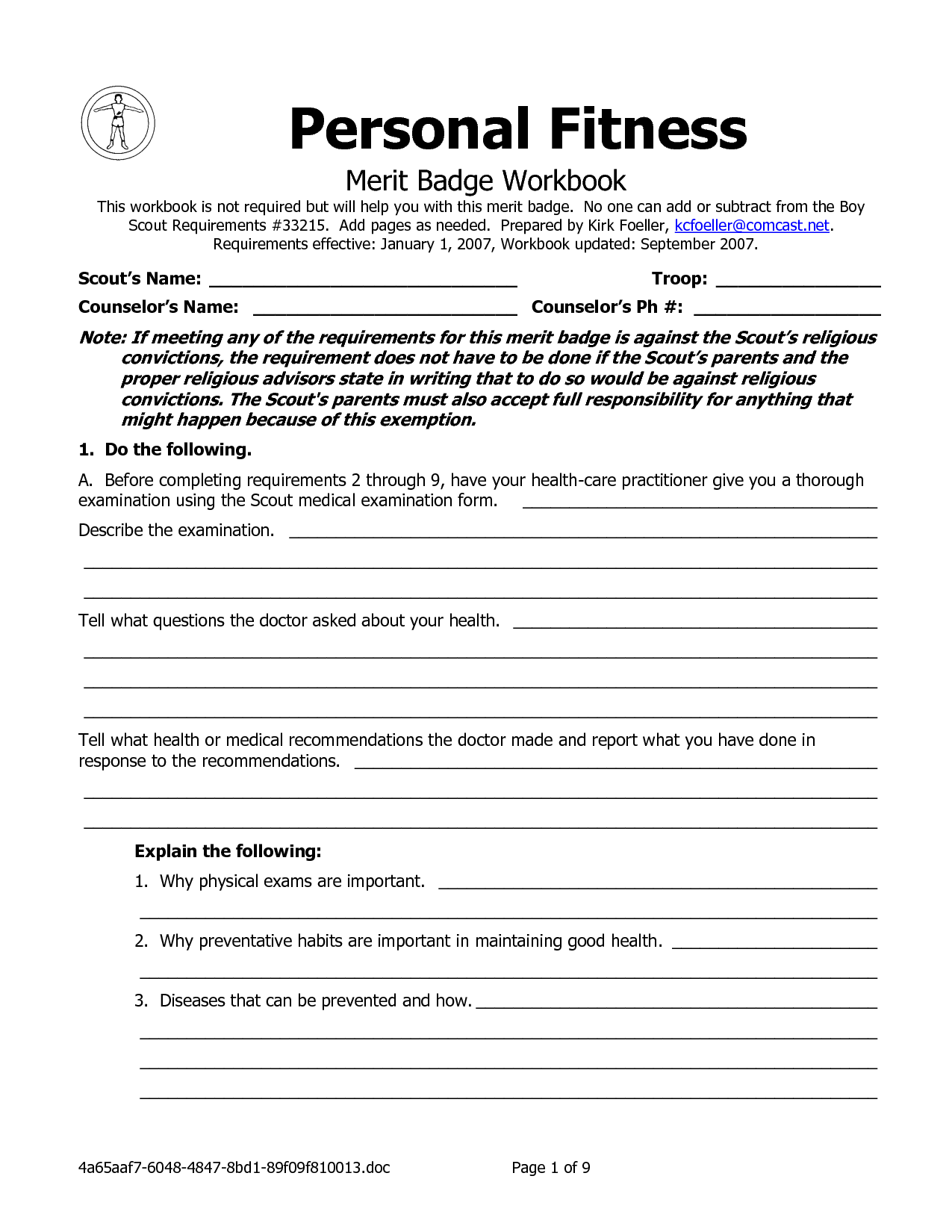 Personal Fitness Merit Badge Worksheet Answers