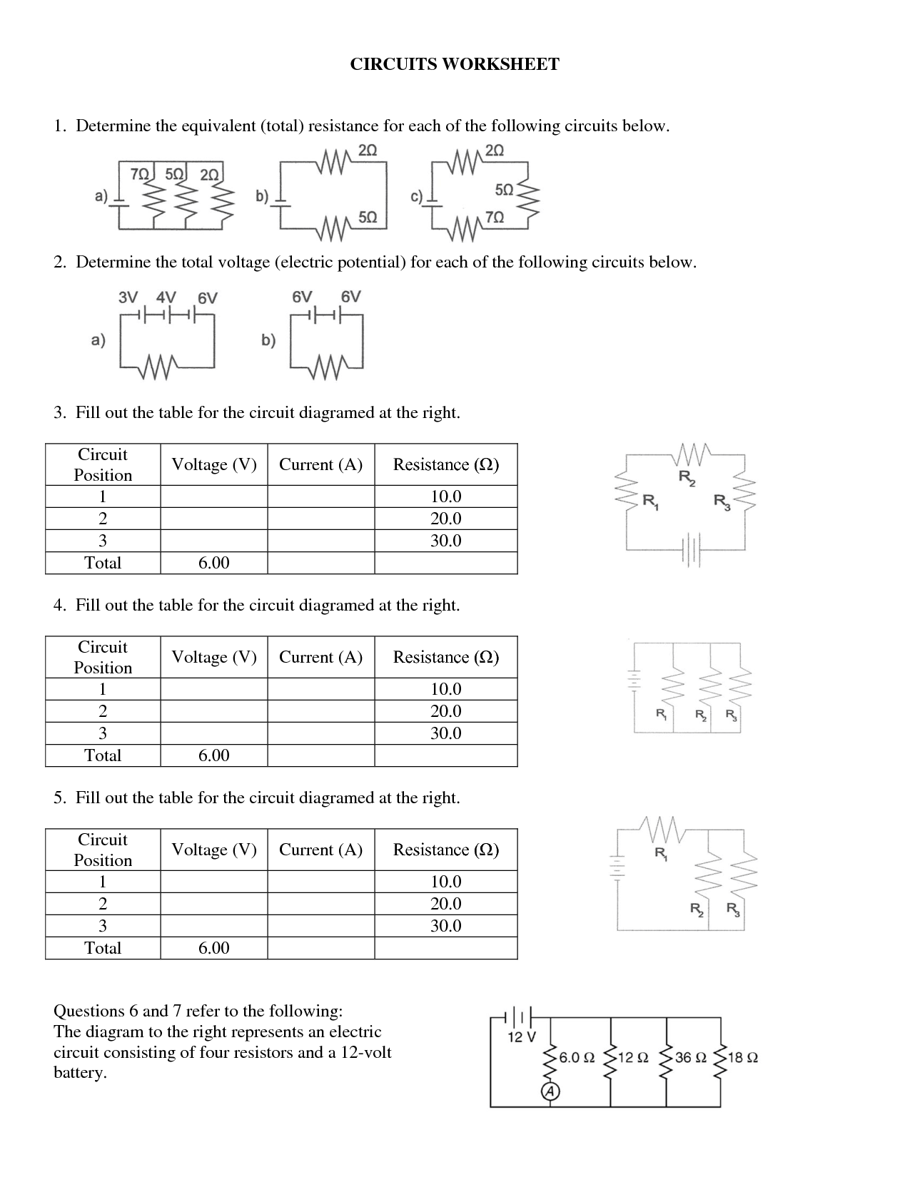 32 15 Electrical Circuits Worksheet A Answers