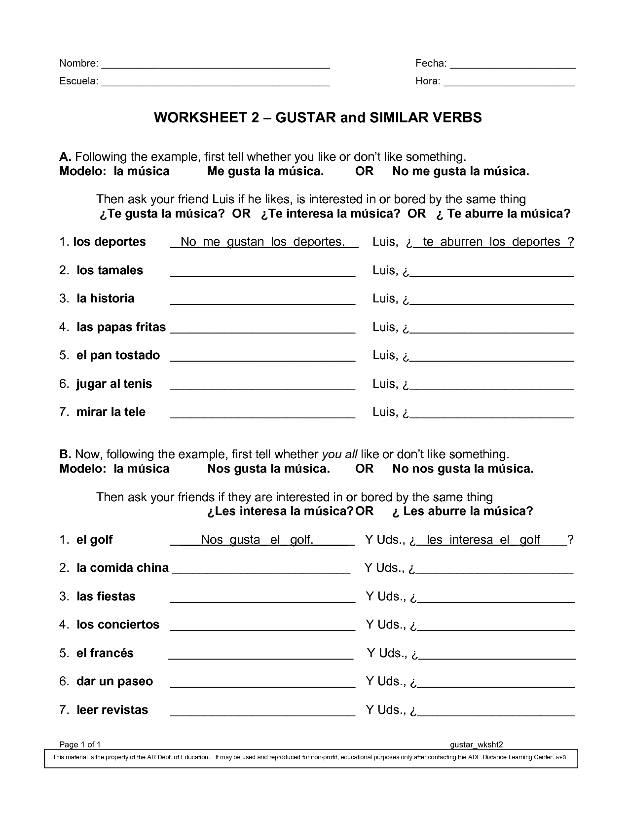 10 Best Images Of Worksheets Spanish Verb Gustar