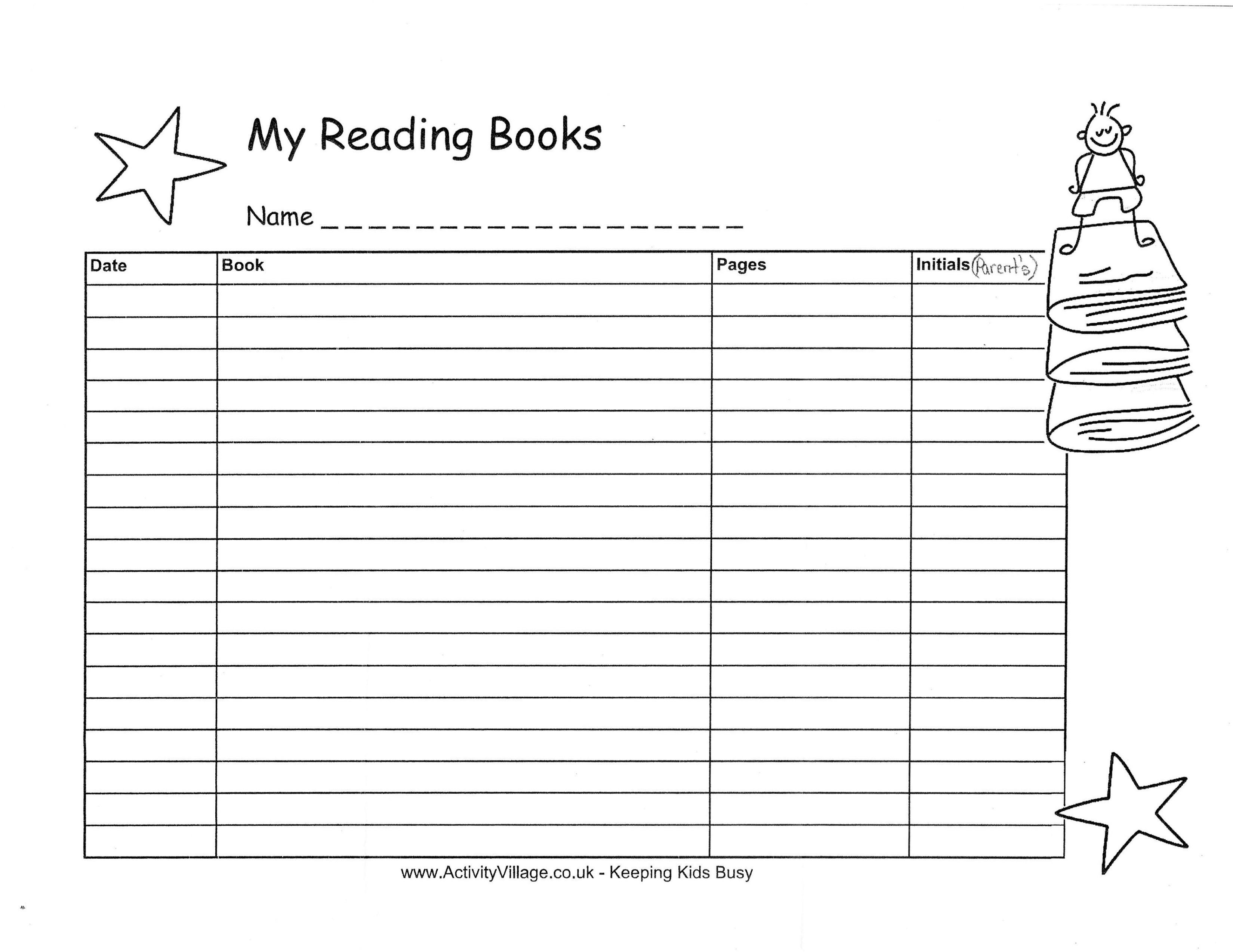 14 Best Images Of Reading Log Worksheets