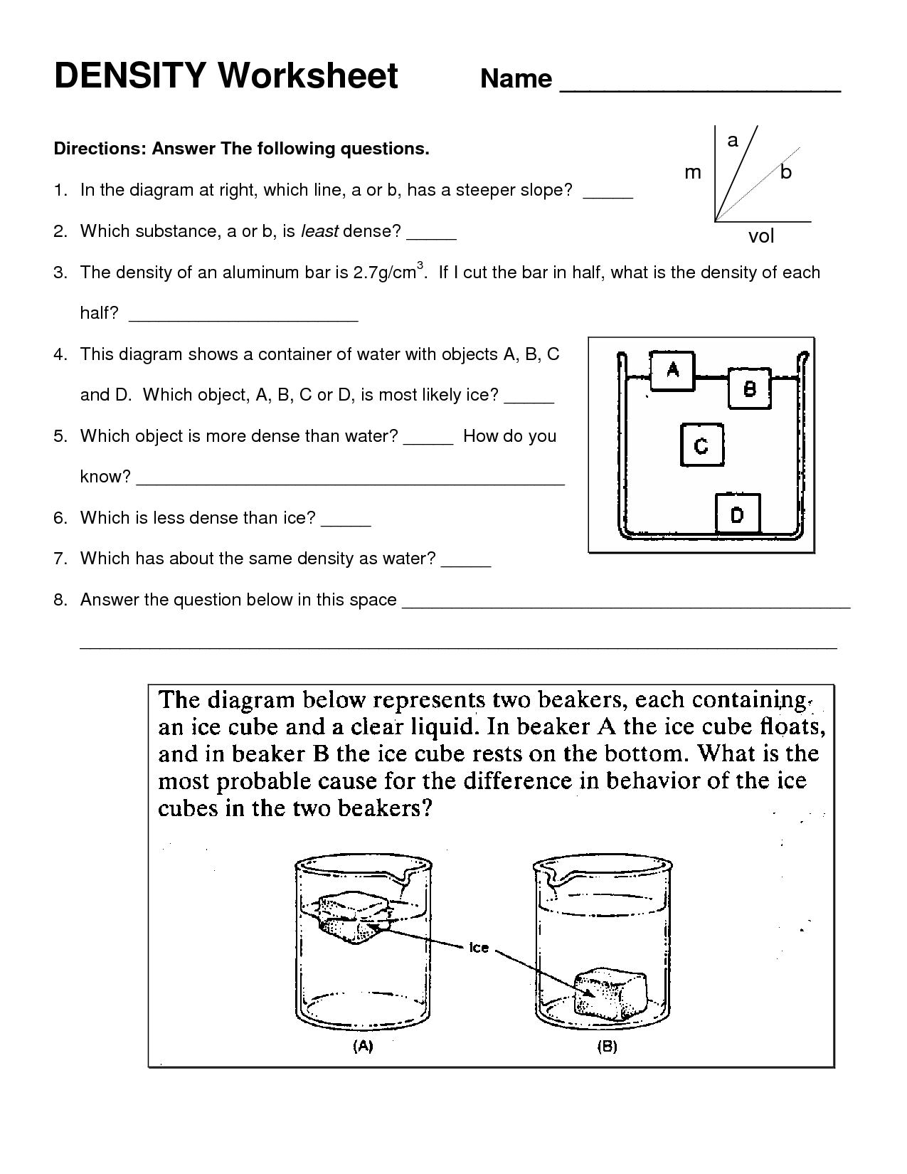 Chemistry Density Worksheet