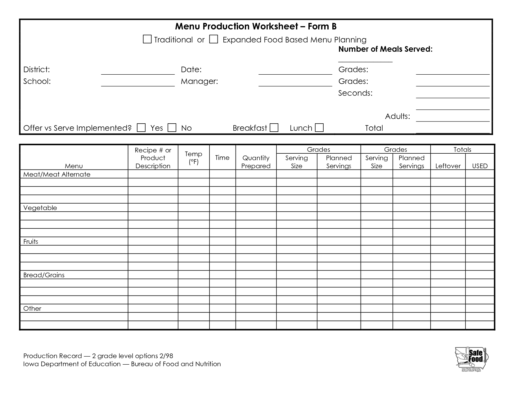 Production Worksheet Blank