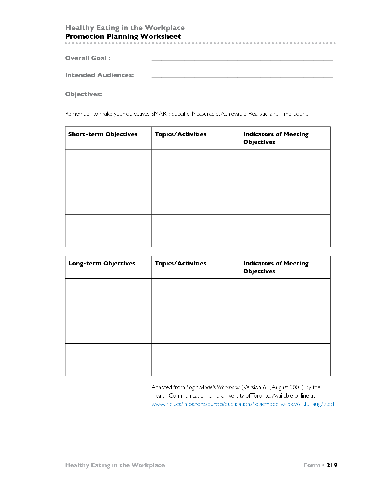 6 Best Images Of Smart Objectives Worksheet