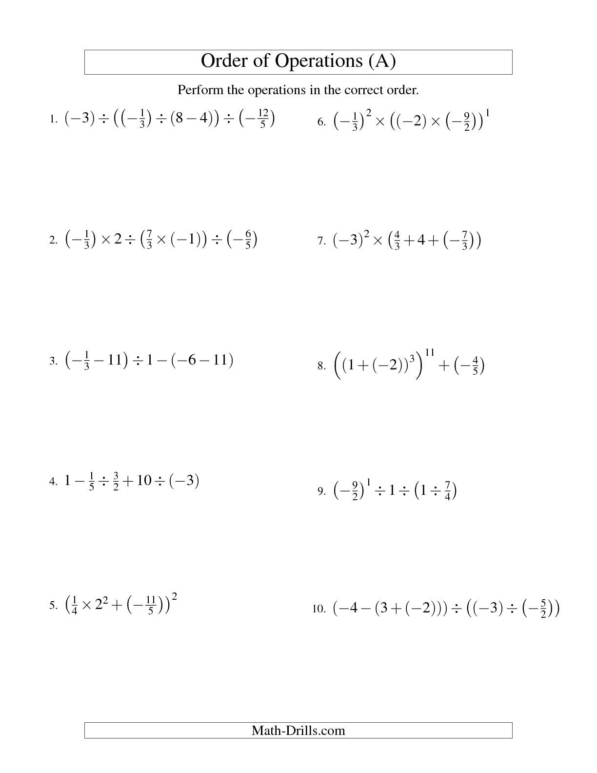 Order Of Operations With Exponents And Parentheses Worksheet
