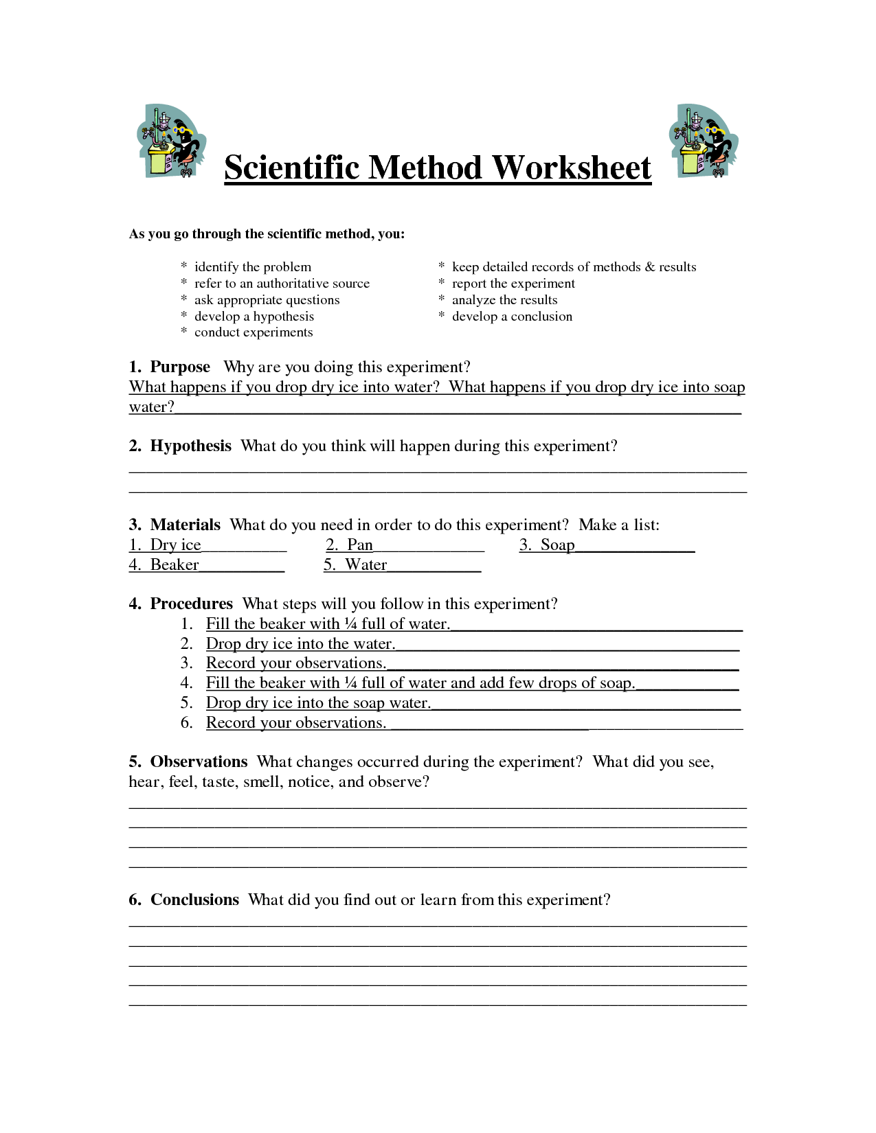 Worksheet Scientific Method Worksheet Middle School