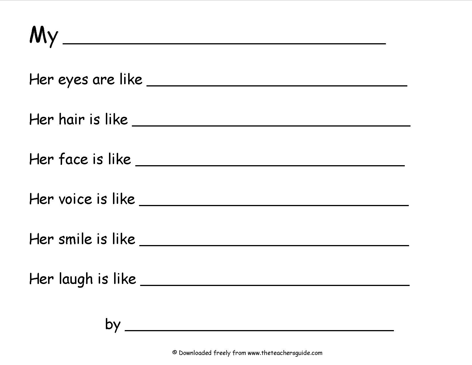 16 Best Images Of Simile Worksheets 2nd Grade