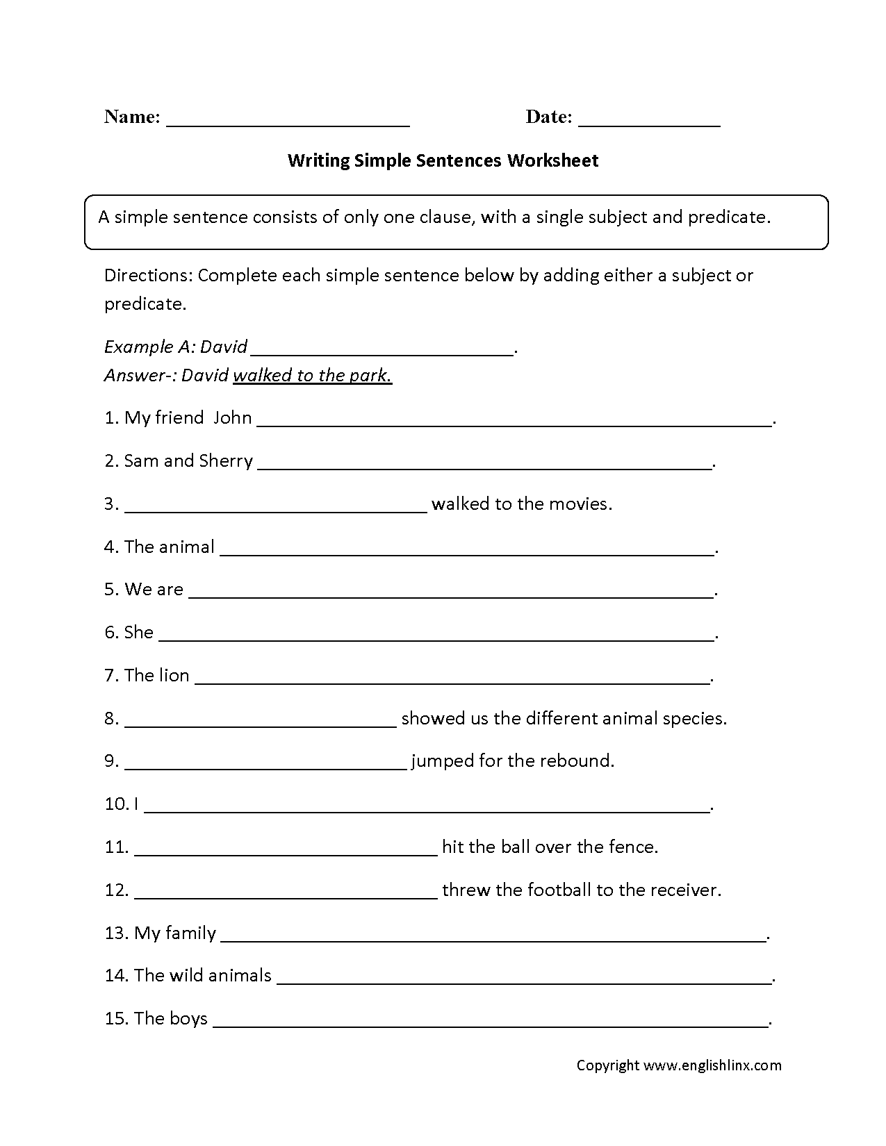 Kindergarten Simple Sentences Worksheet