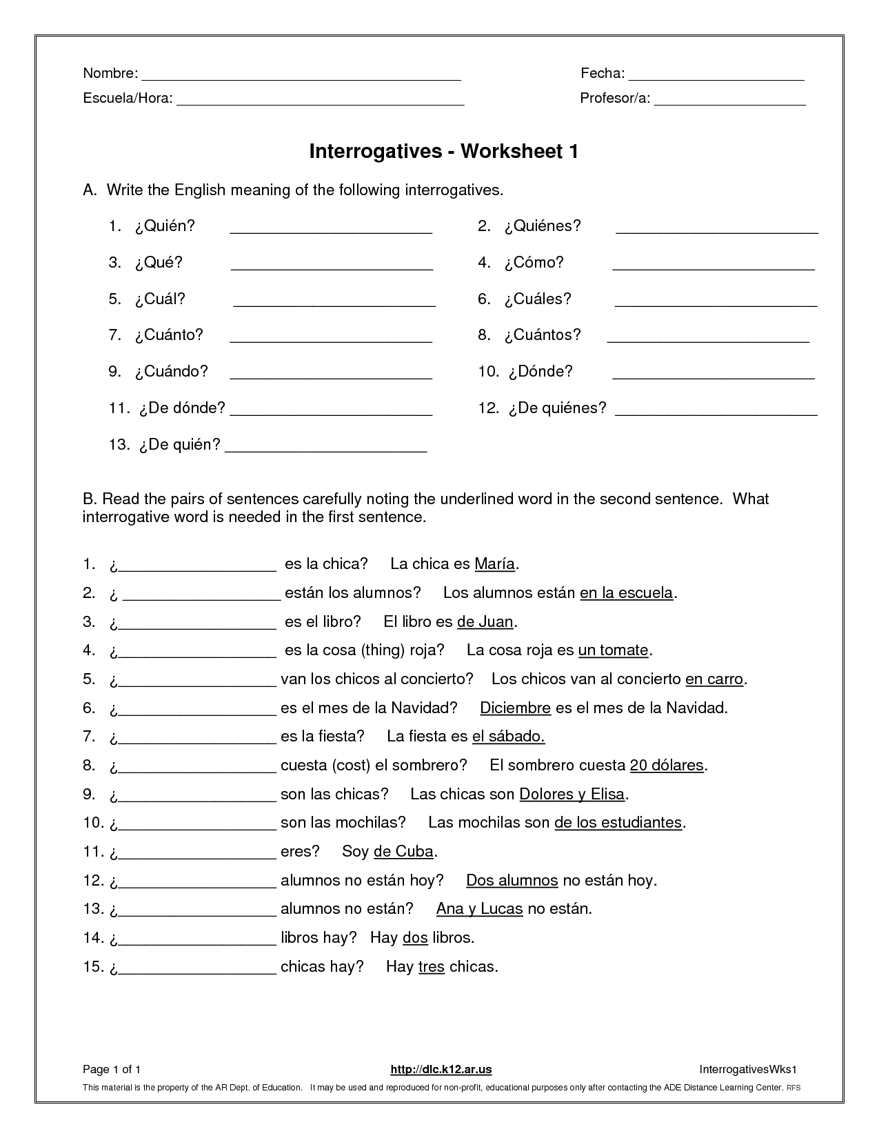 Spanish Positional Words Worksheet