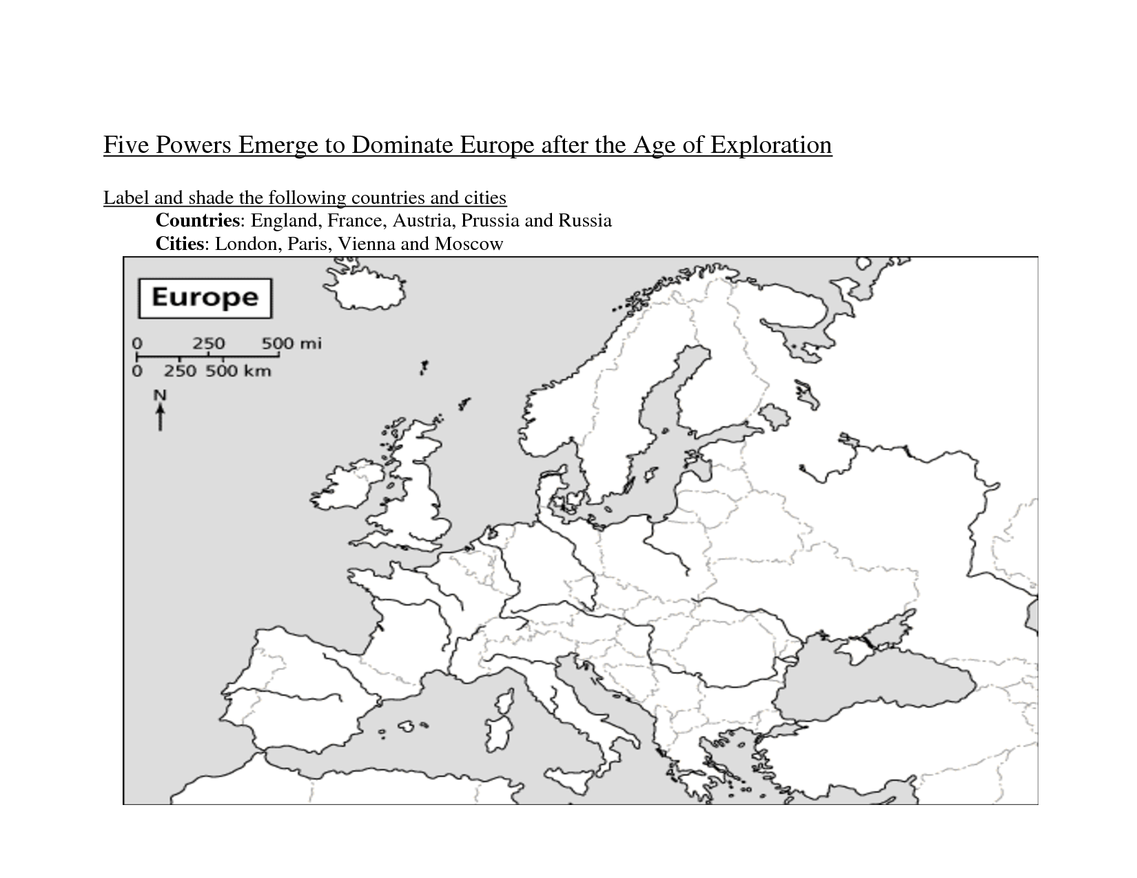 European Map Printable Worksheet