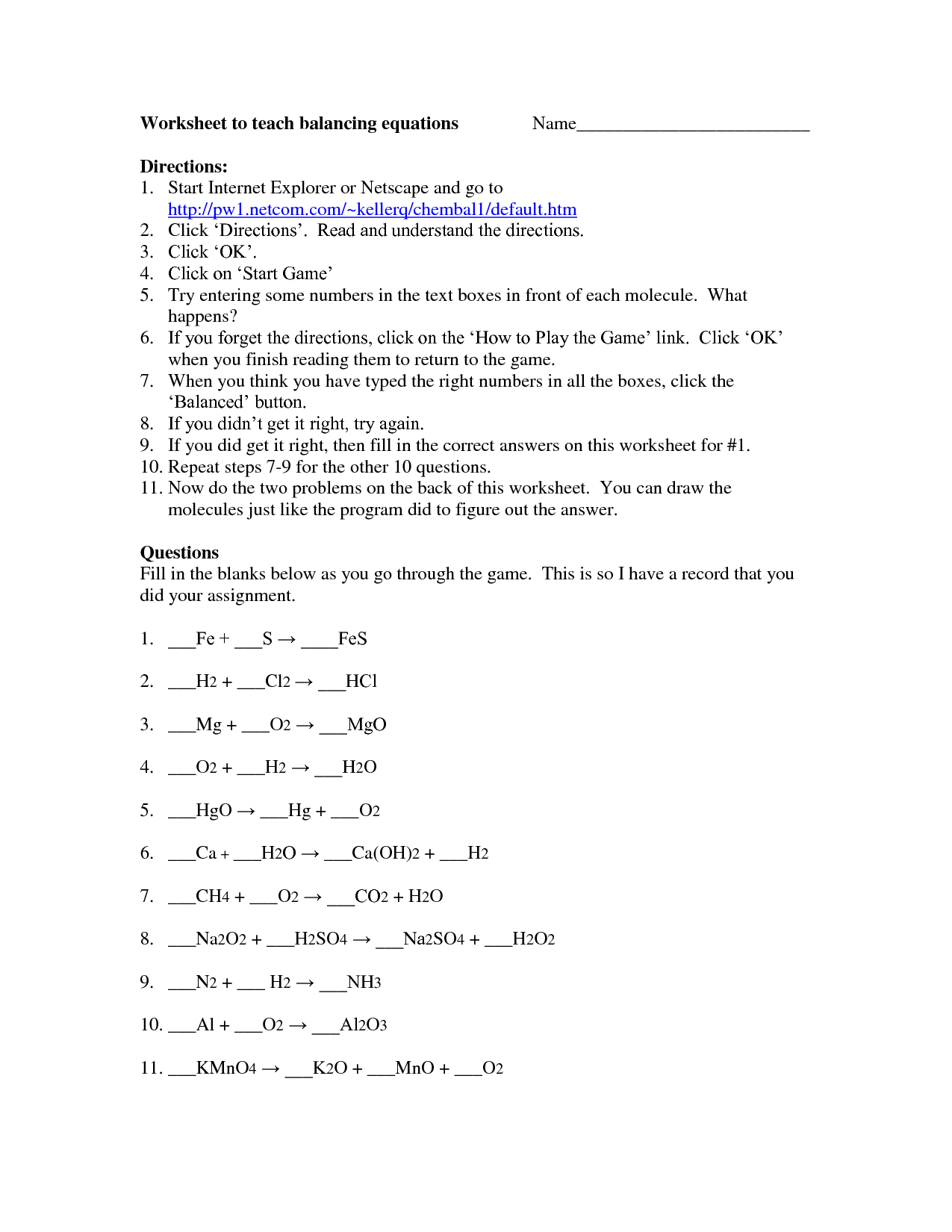 Balancing Equations Race Worksheet Answers Chemfiesta