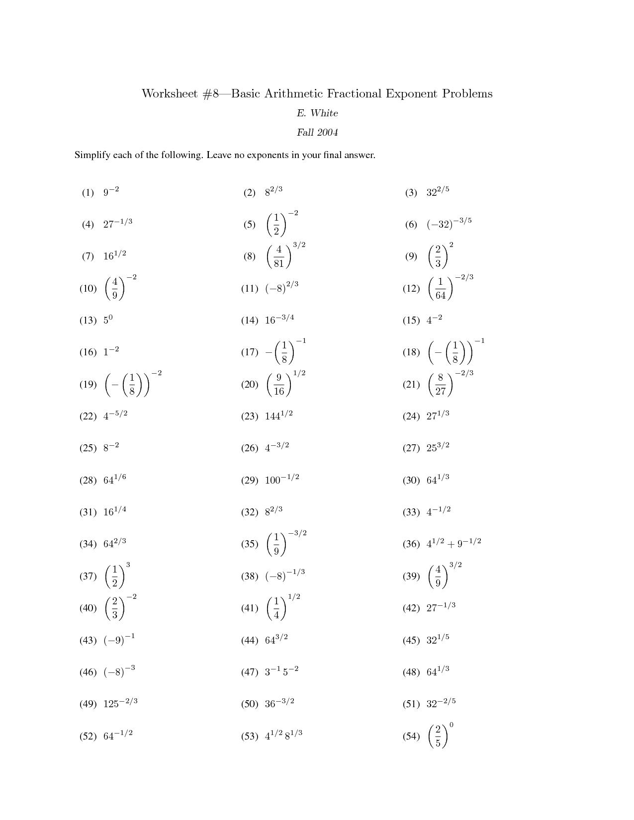 Fraction Worksheet Basic Rules