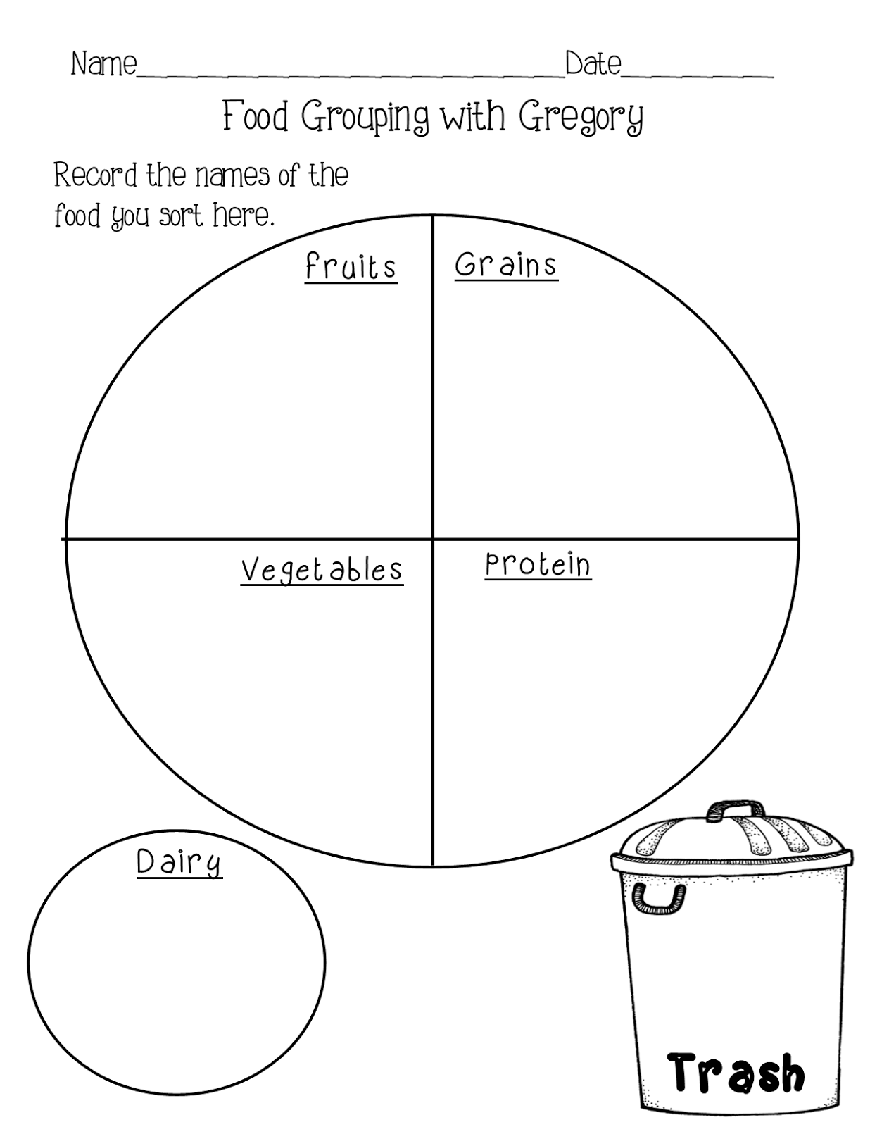 Food Groups Sorting Worksheet