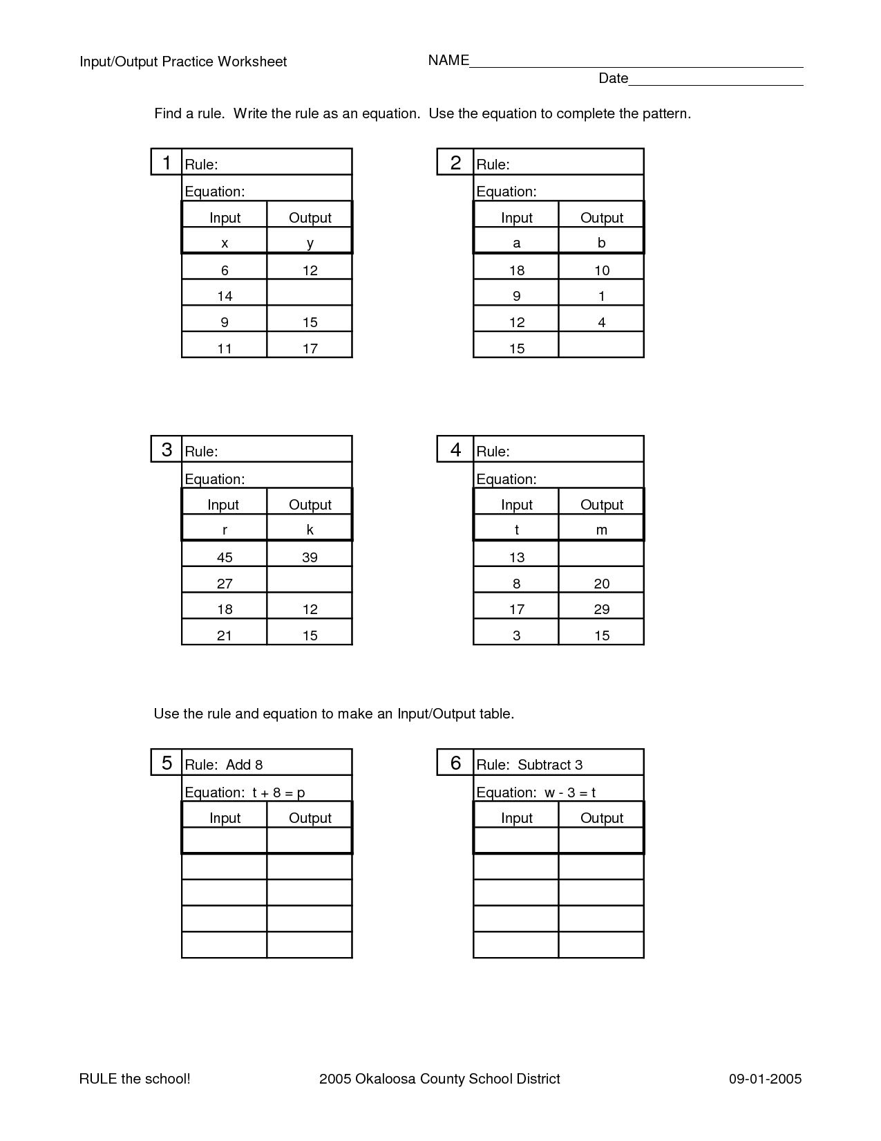 13 Best Images Of The Rule Math Worksheets