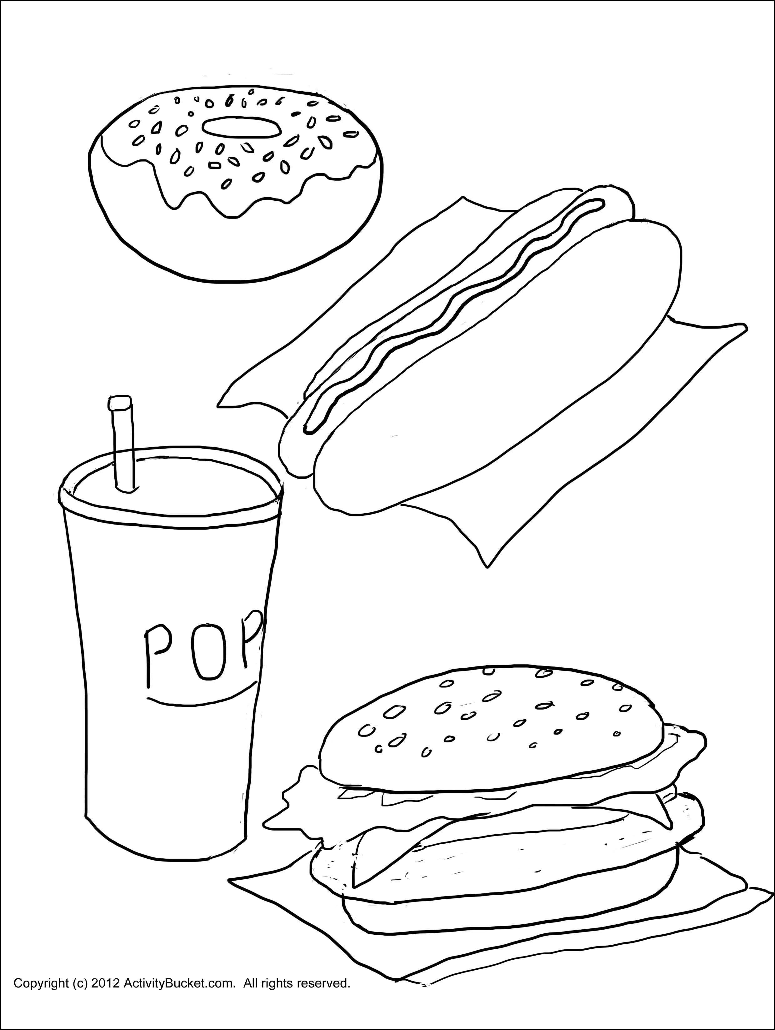 Healthy Food For Kindergarten Coloring Worksheet