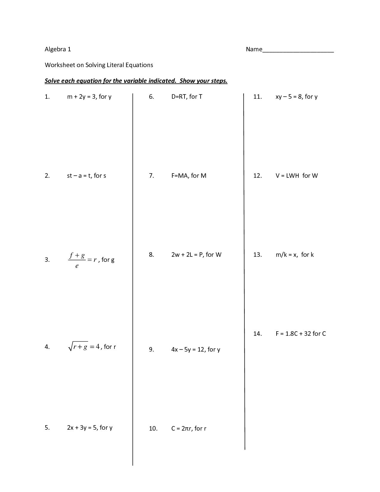 13 Best Images Of Algebra Solving Inequalities Worksheet