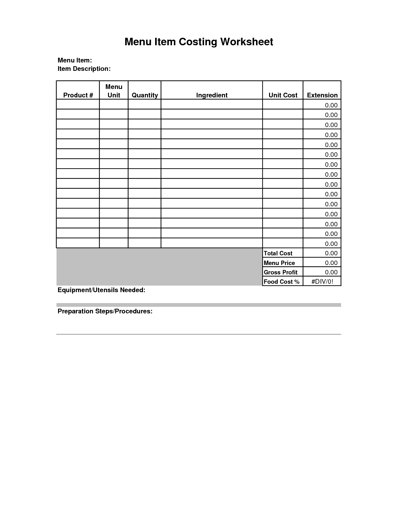 9 Best Images Of Food Cost Worksheet