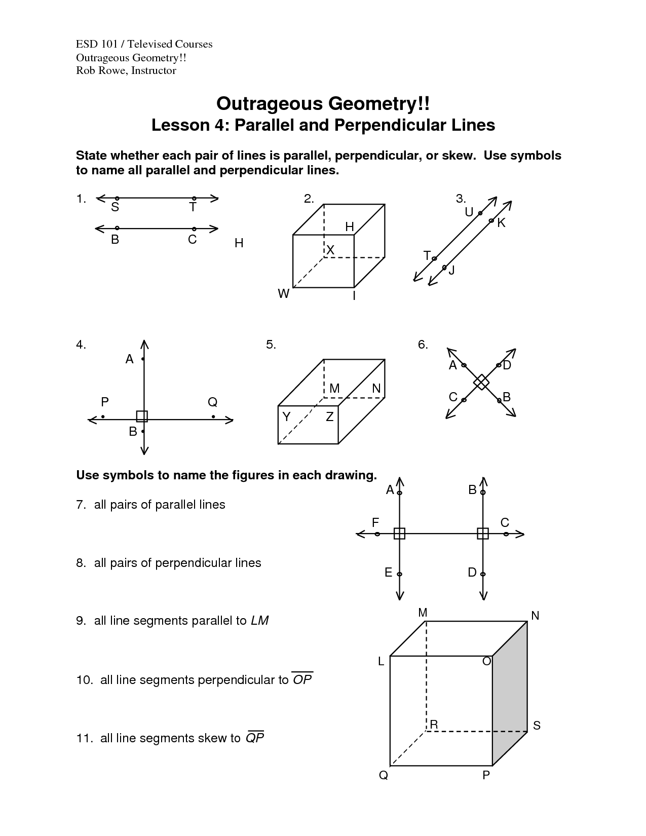 Parallel Perpendicular Worksheet