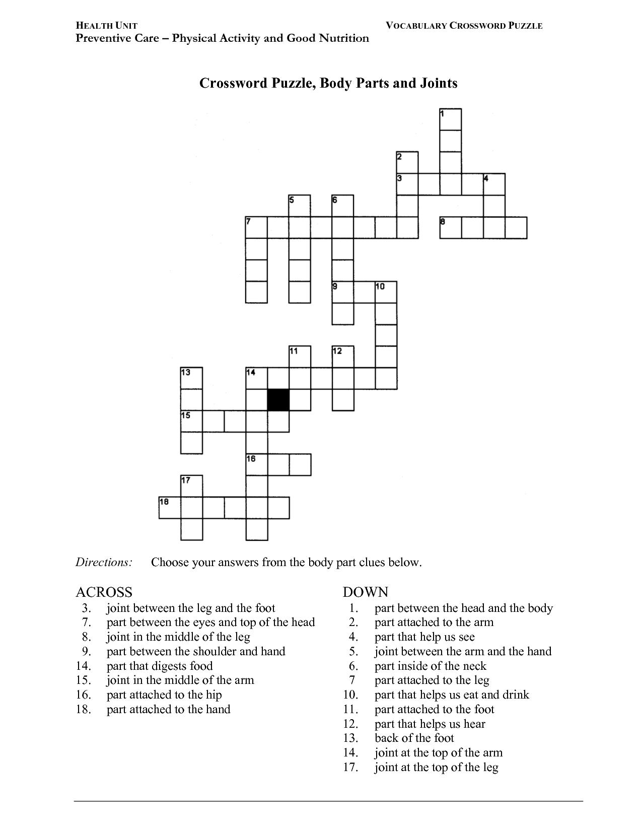 12 Best Images Of Printable Nutrition Crossword Puzzle Worksheet