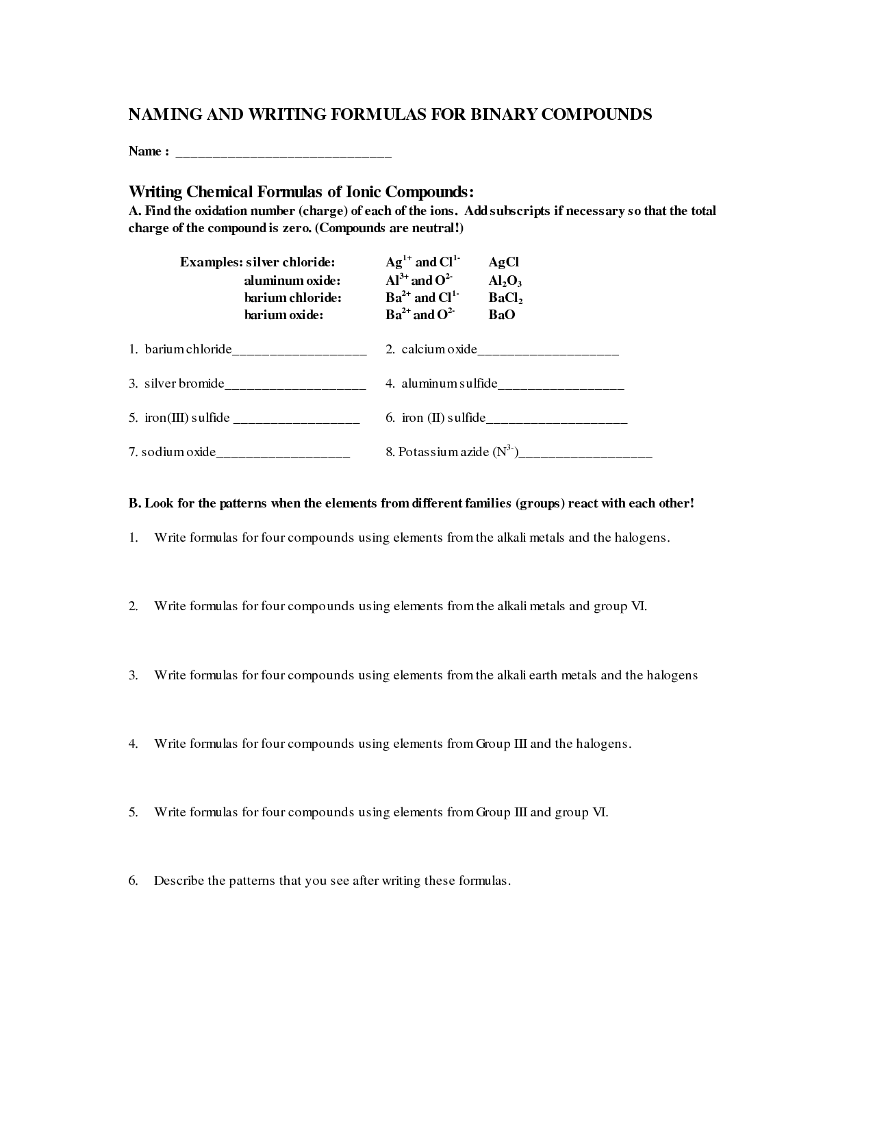 12 Best Images Of Compound Names And Formulas Worksheet