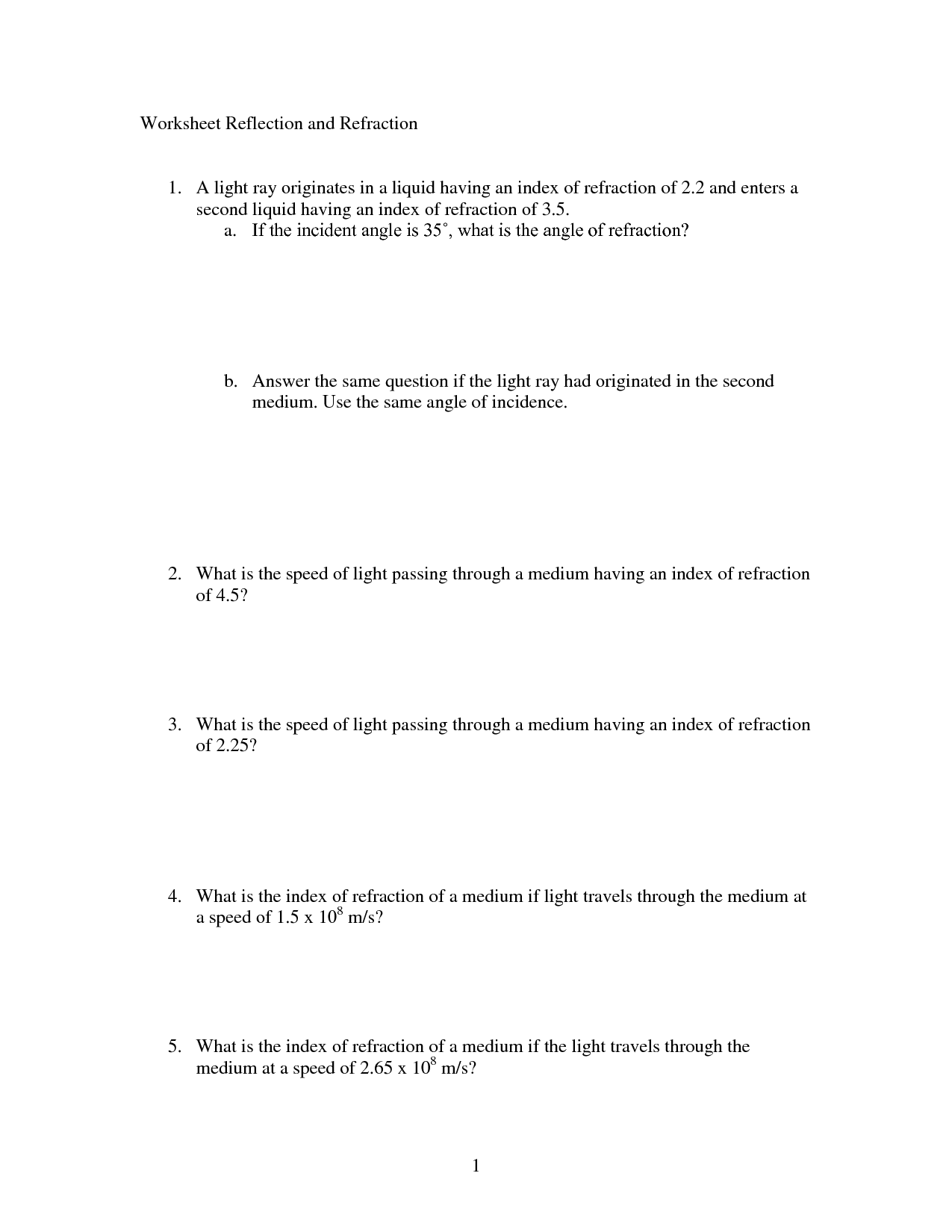 16 Best Images Of Light Reflection And Refraction Worksheet
