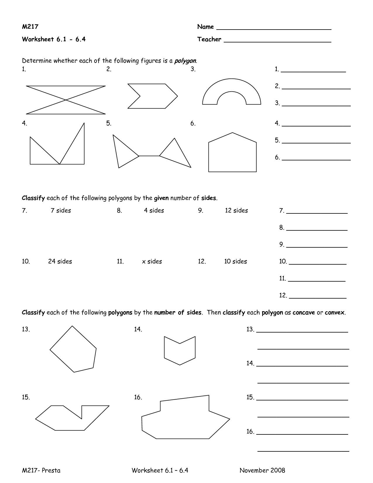 13 Best Images Of Name That Polygon Worksheet