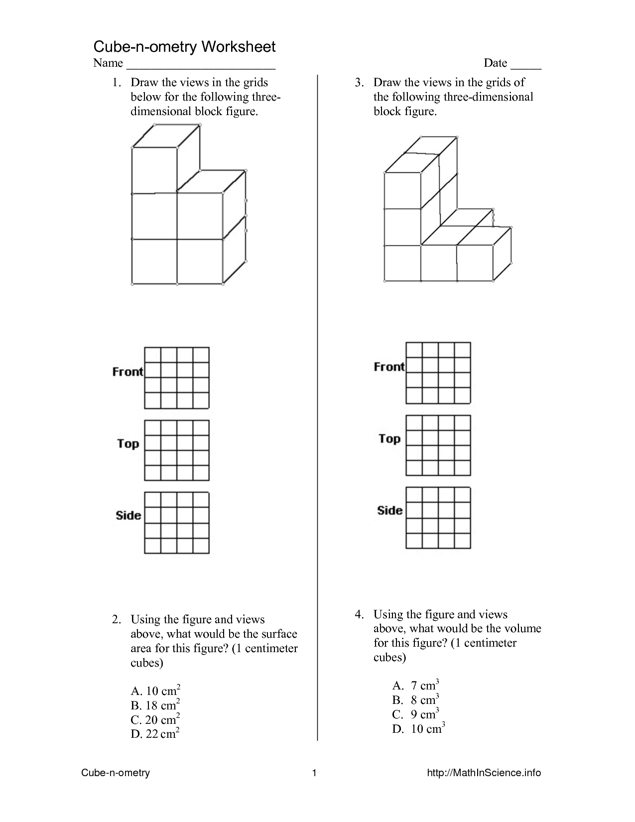 6 Best Images Of Printable 3d Nets Worksheets