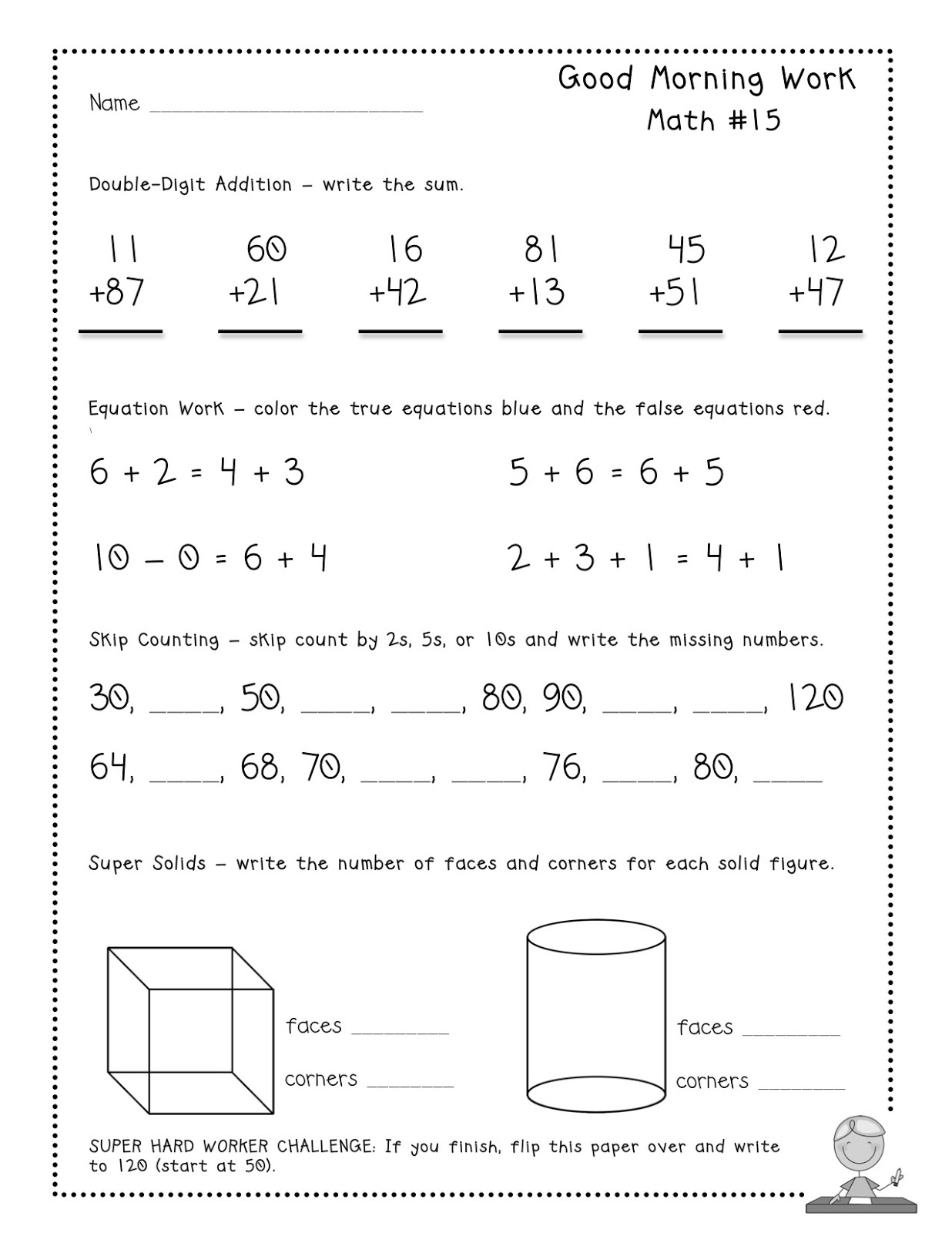 13 Best Images Of Morning Work Worksheets