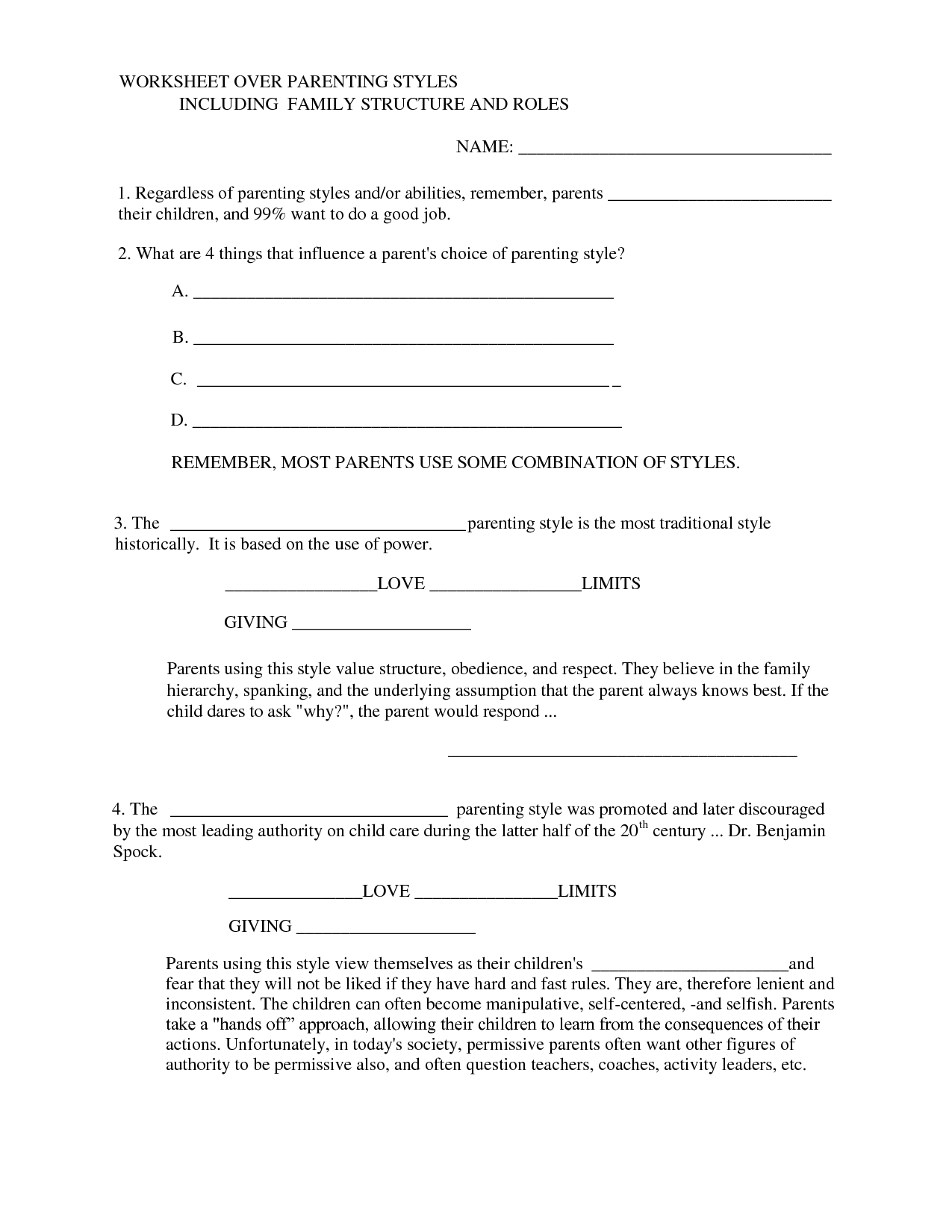 Authoritative Parenting Worksheet
