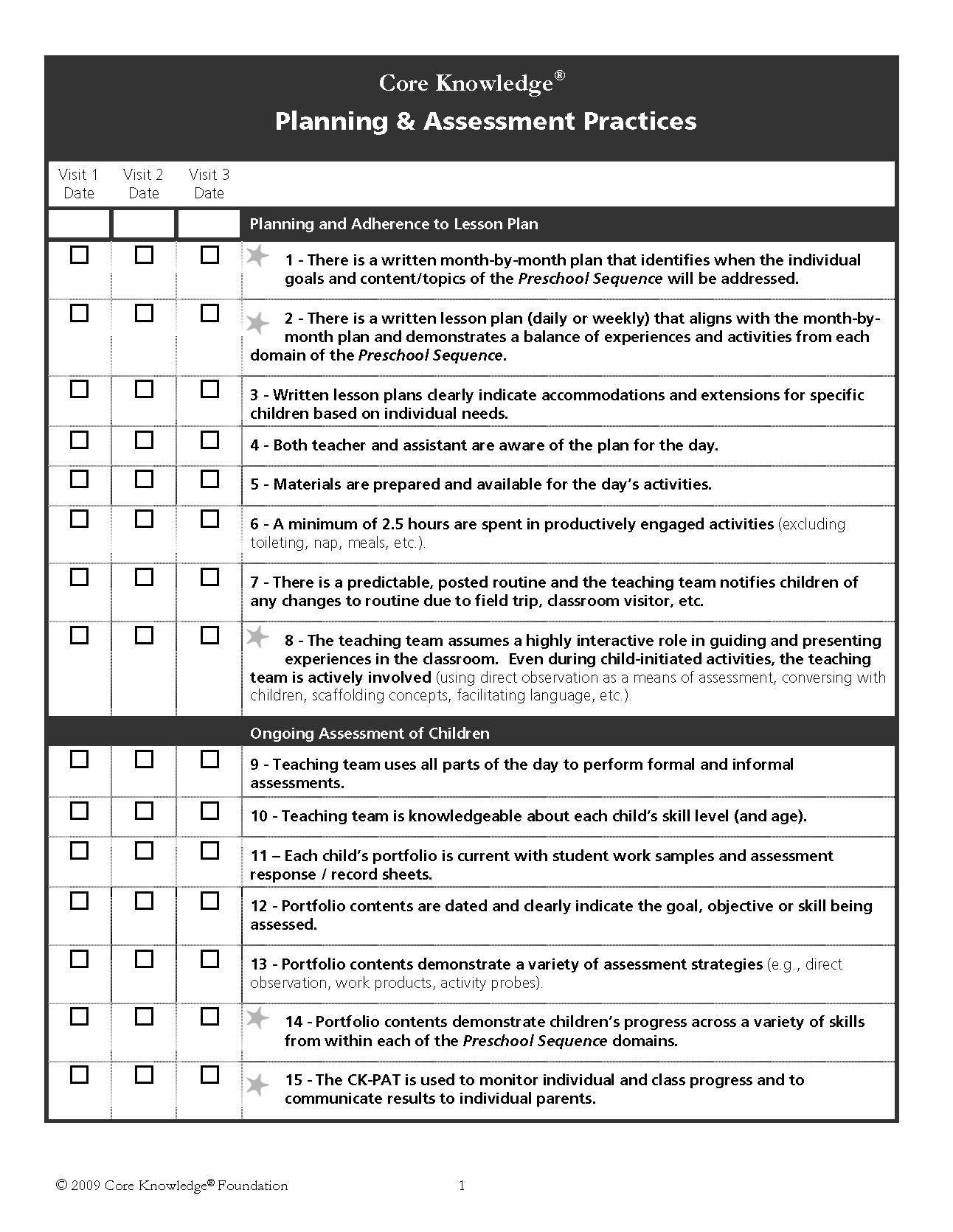 Preschool Classroom Observation Form