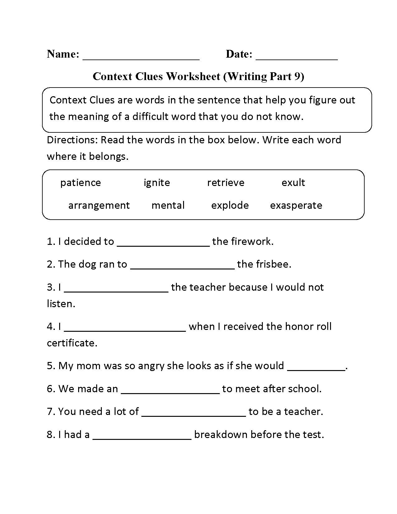 Synonyms Worksheet Context Clues