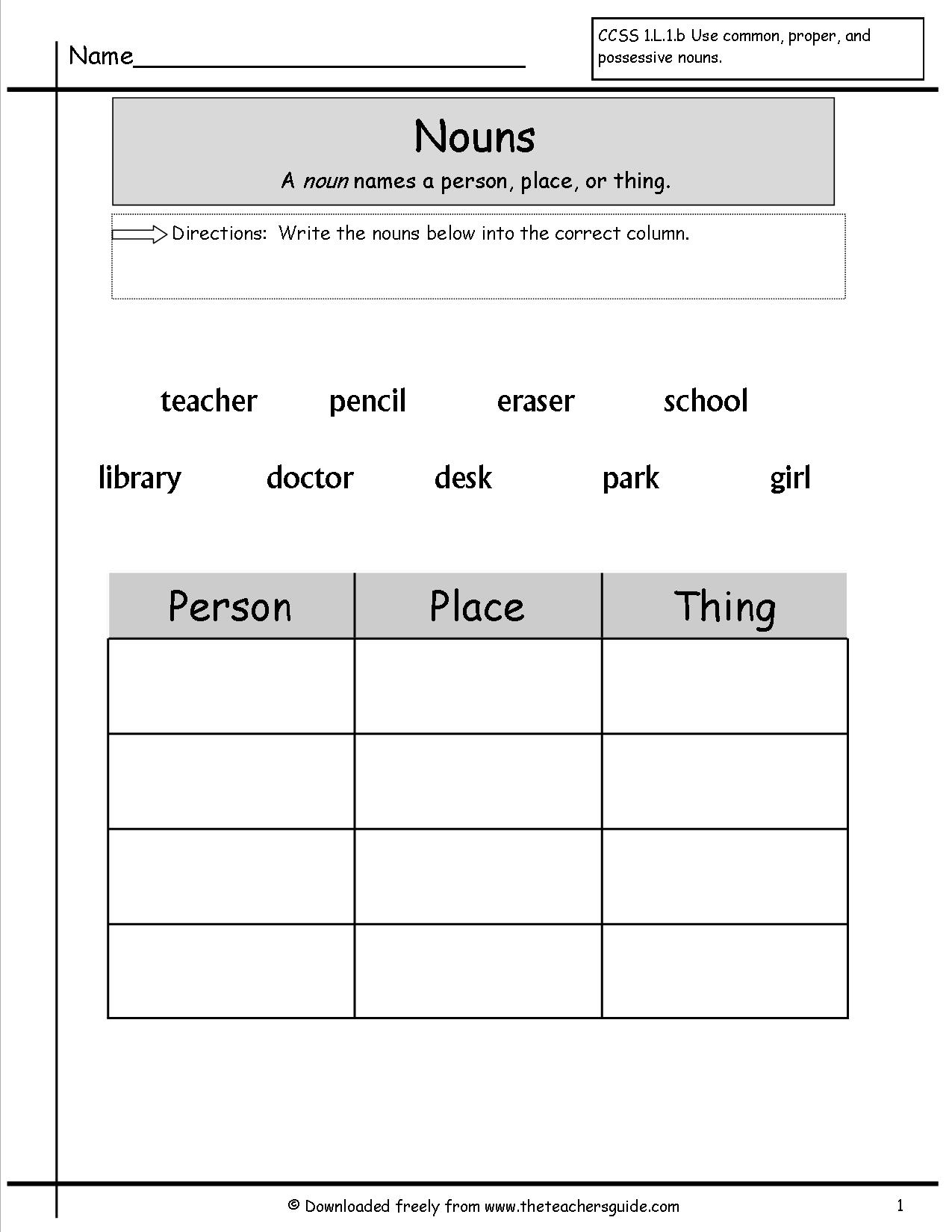 Grammar Worksheets For Grade 1