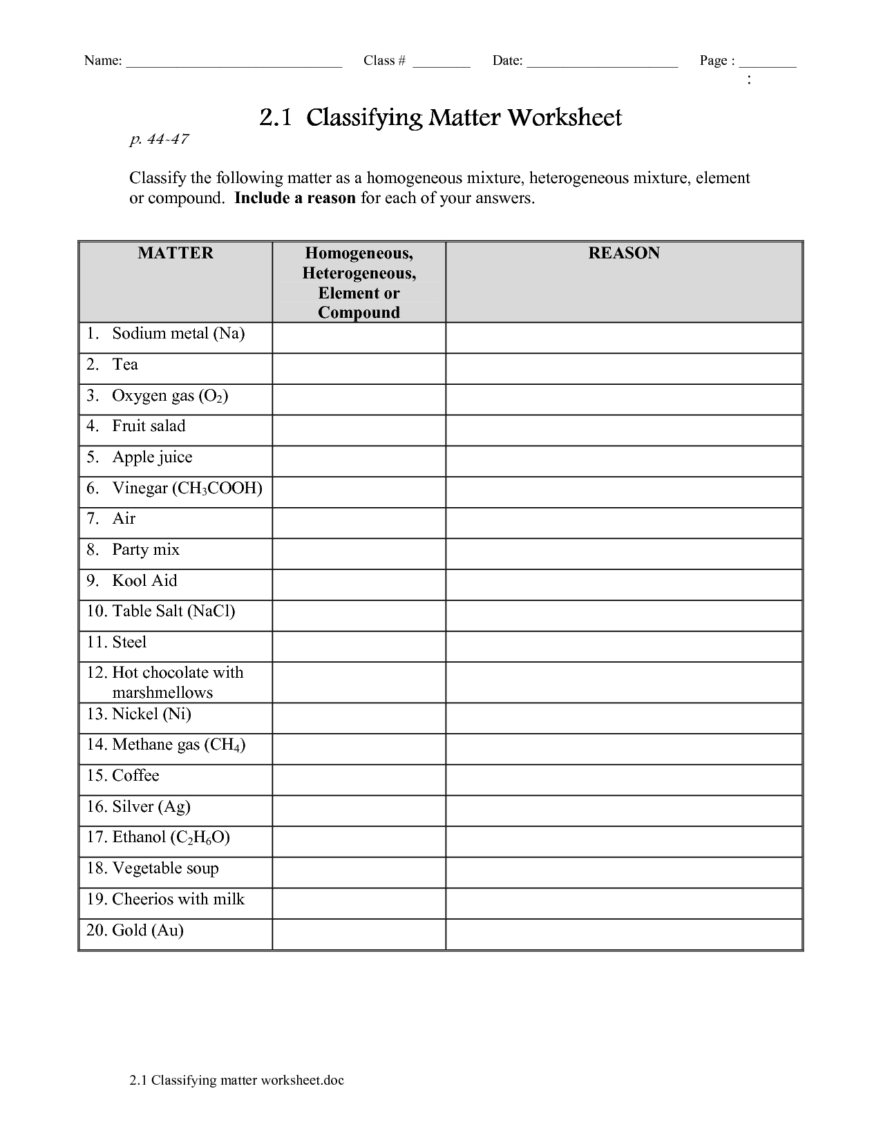 8 Best Images Of Classification Worksheet Answers