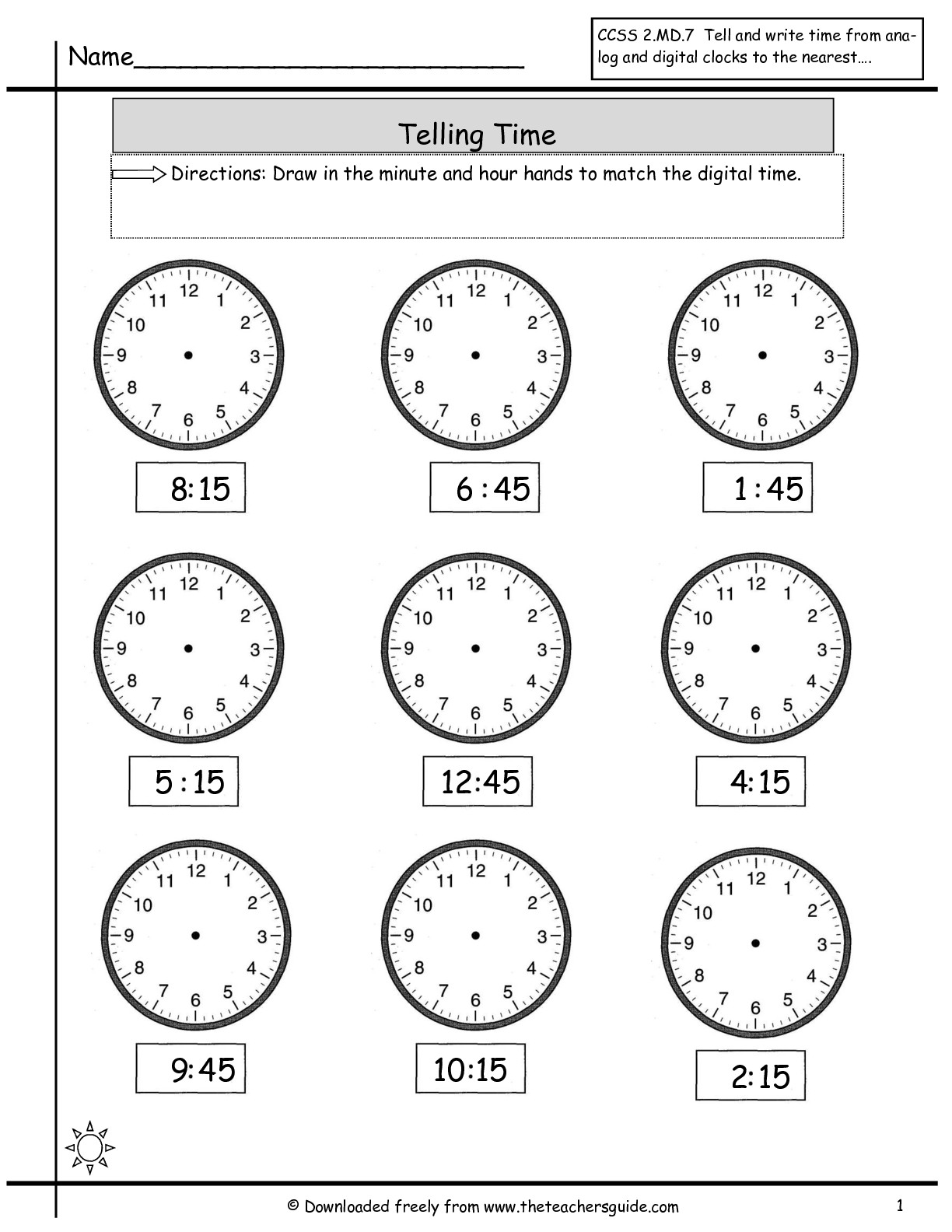 Clock Worksheet Category Page 3