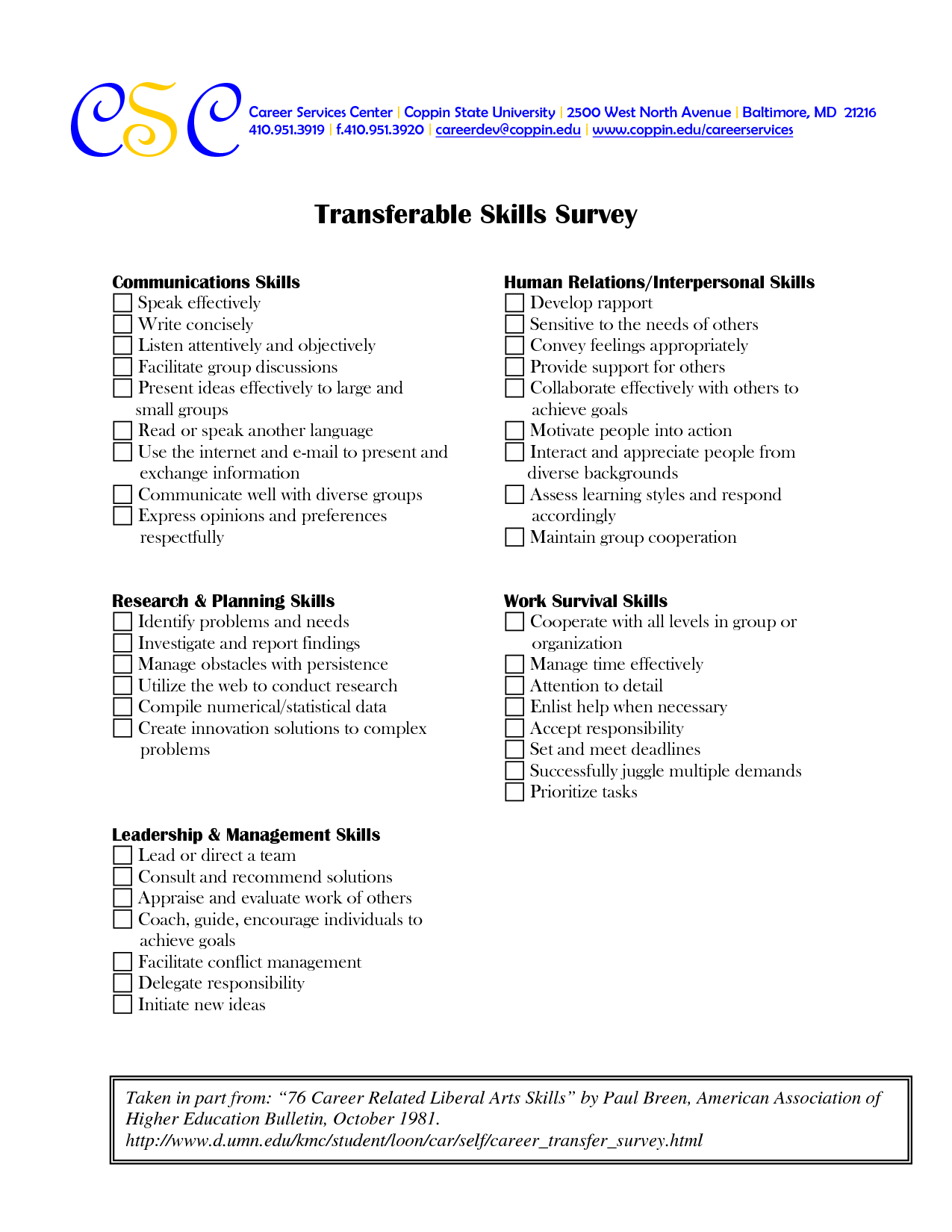 17 Best Images Of Career Skills Worksheets