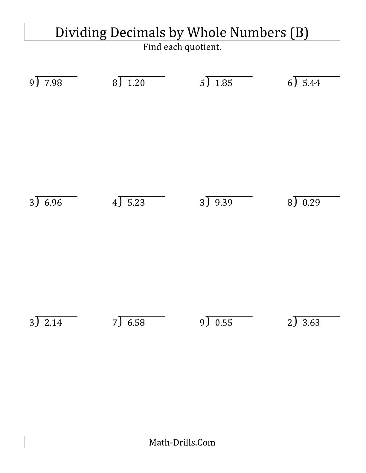 9 Best Images Of Dividing Whole Numbers Worksheets