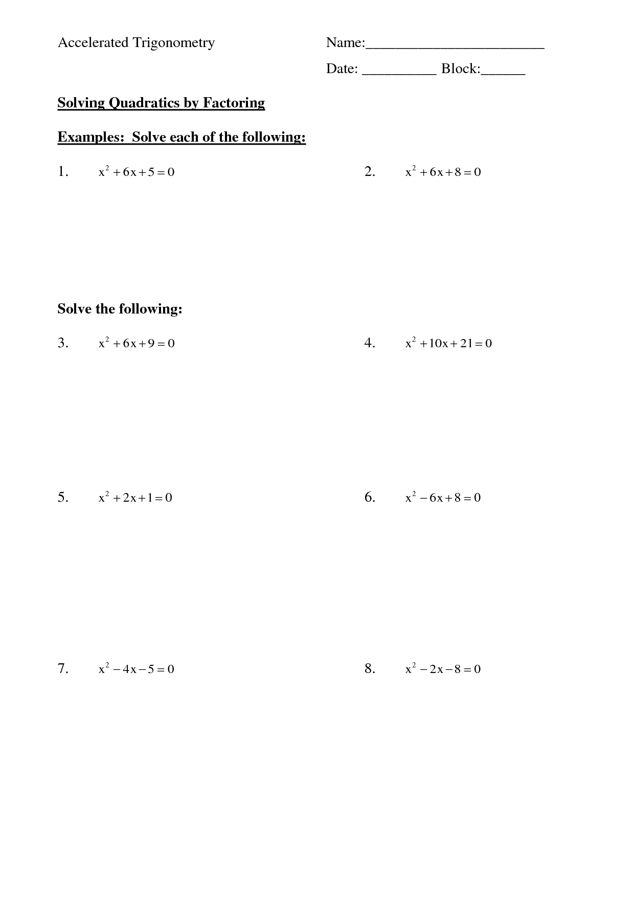 28 Factoring Quadratic Equations Worksheet