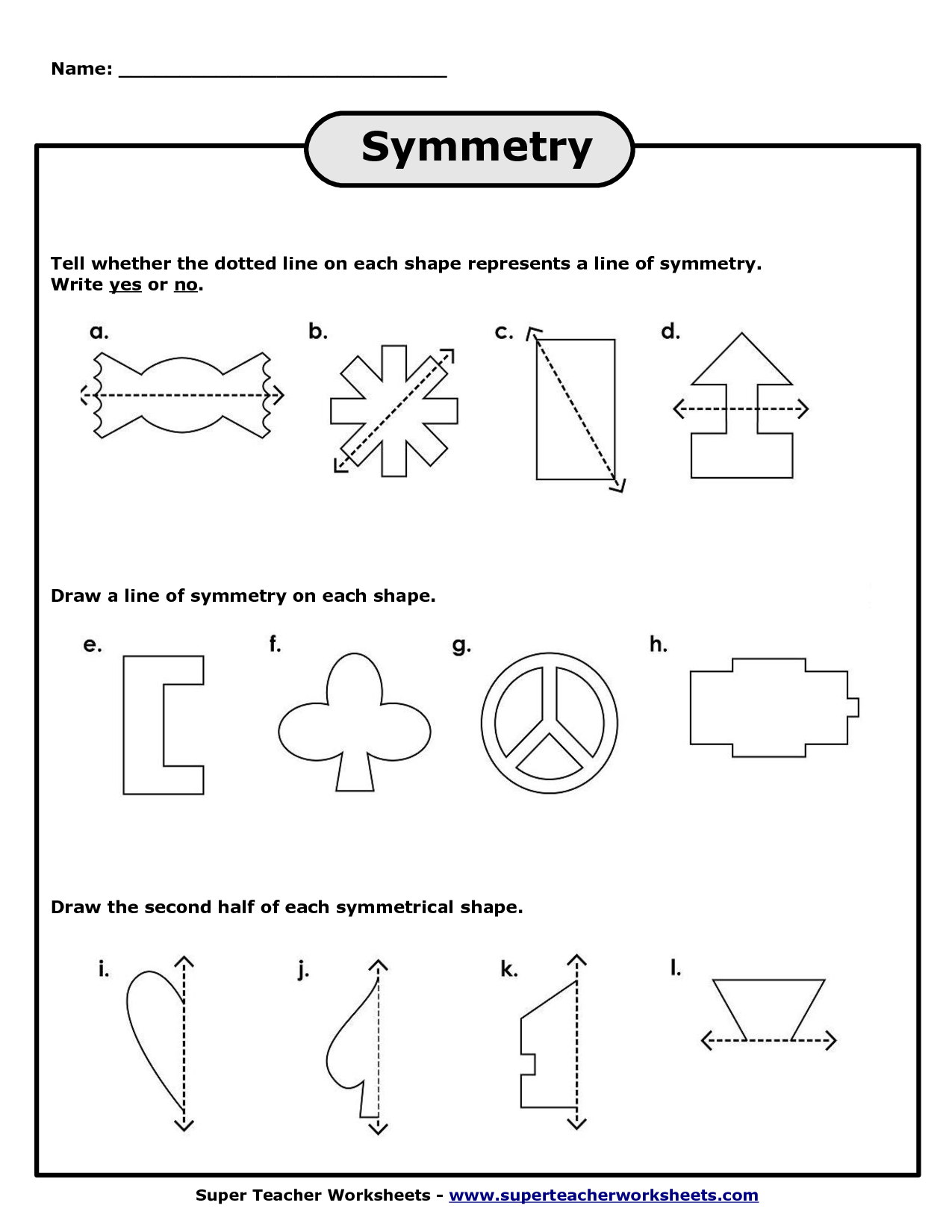 Super Teacher Worksheet Symmetry