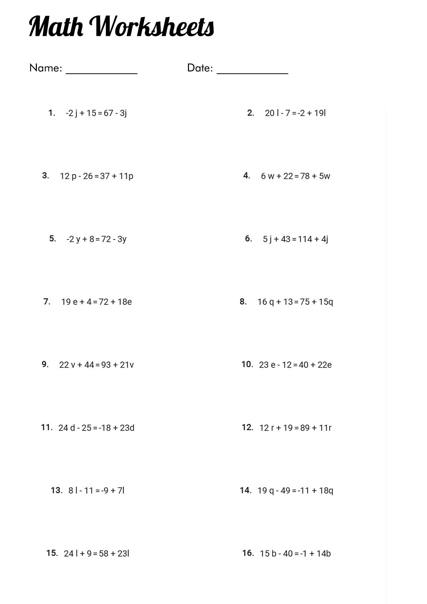 Math Problems Algebra 2 Worksheet
