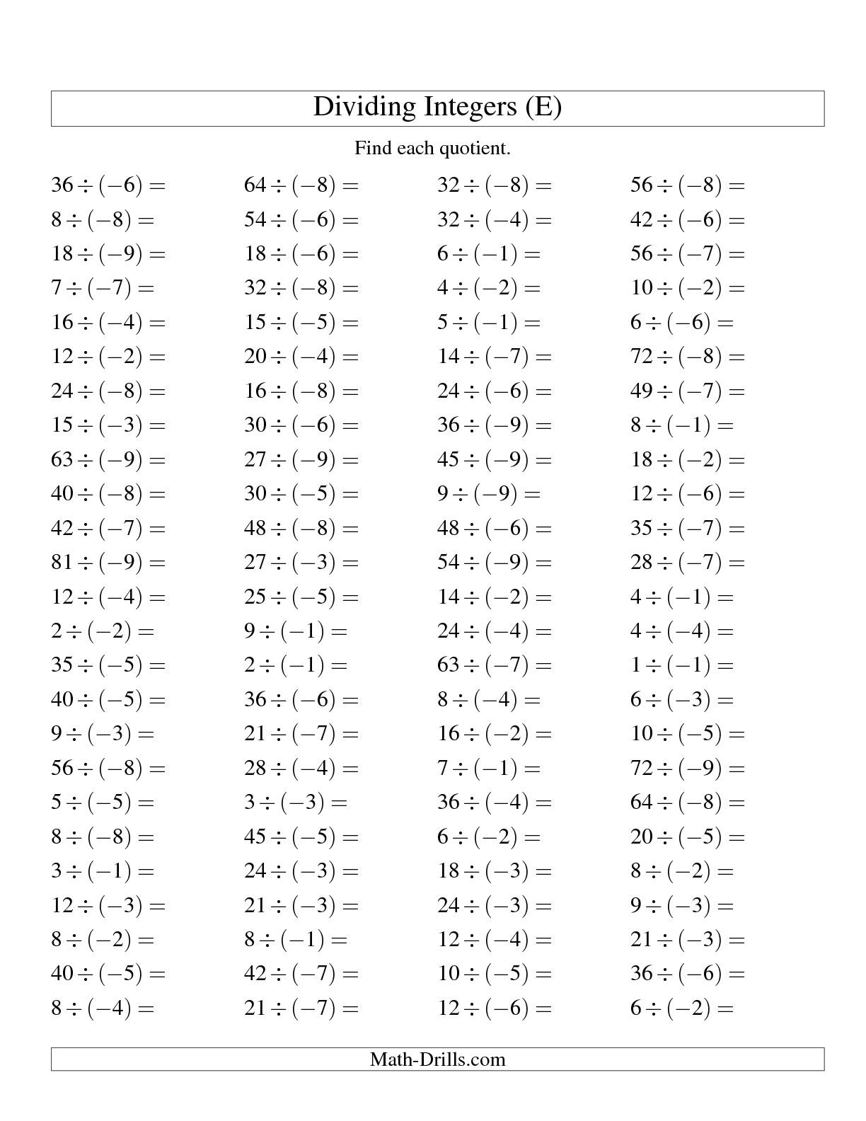 18 Best Images Of Math Worksheets Integers