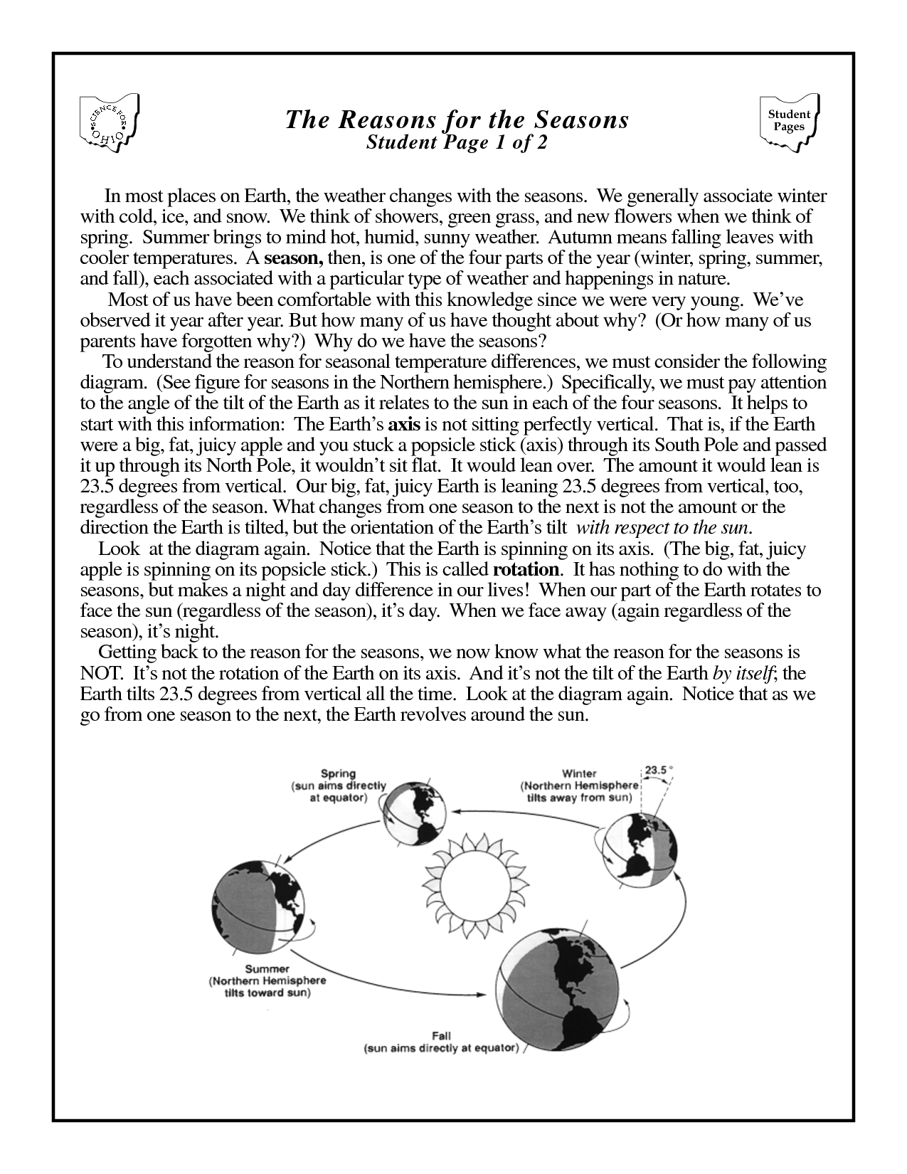 14 Best Images Of Earth S Revolution Worksheet