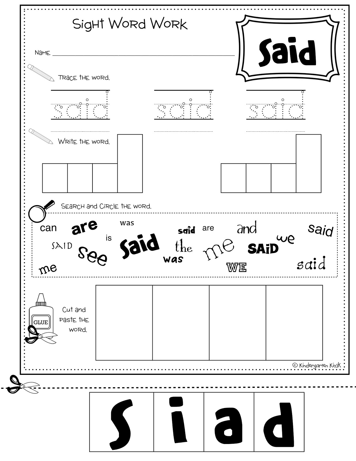 17 Best Images Of Kindergarten Sight Words Worksheets Like