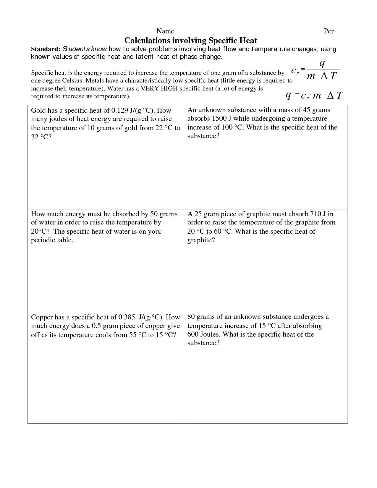 Heat Temperature And Thermal Energy Worksheet