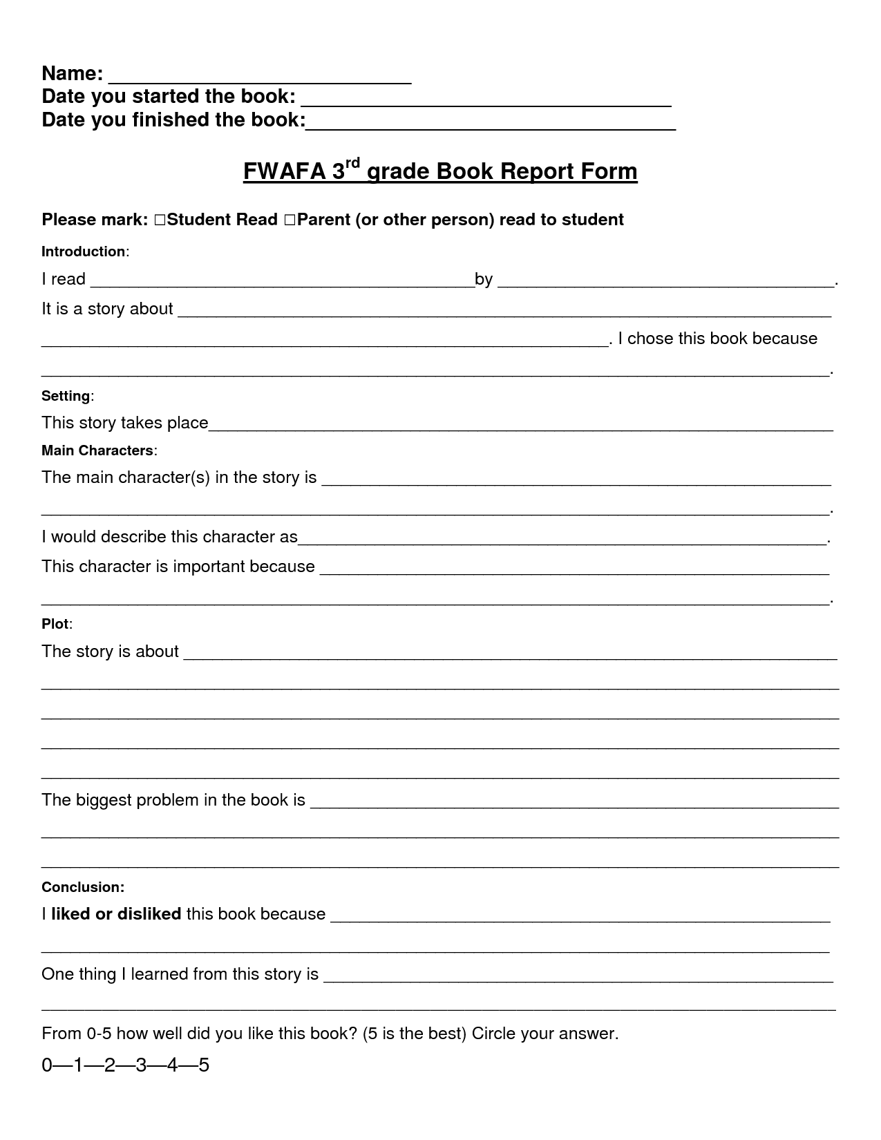 Free Third Grade Book Report Template