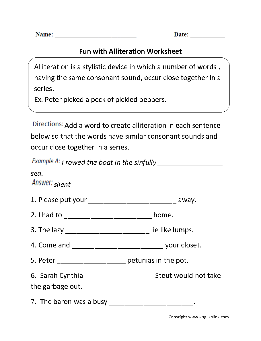 Alliteration Assonance Consonance Worksheet